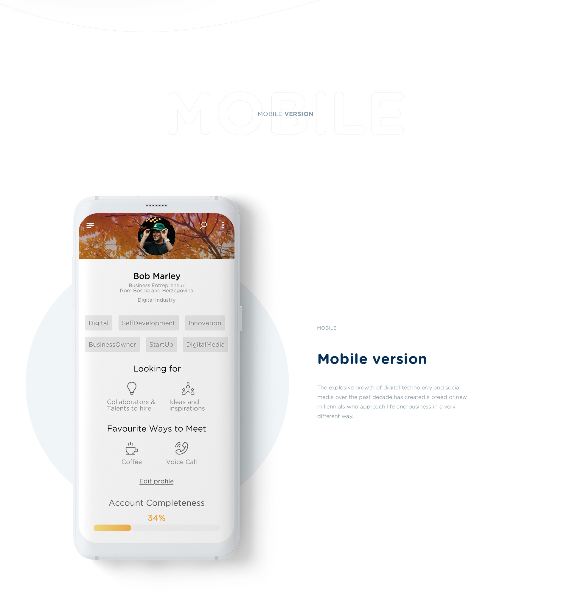 Web Design and UI/UX of Millennials, a social portal