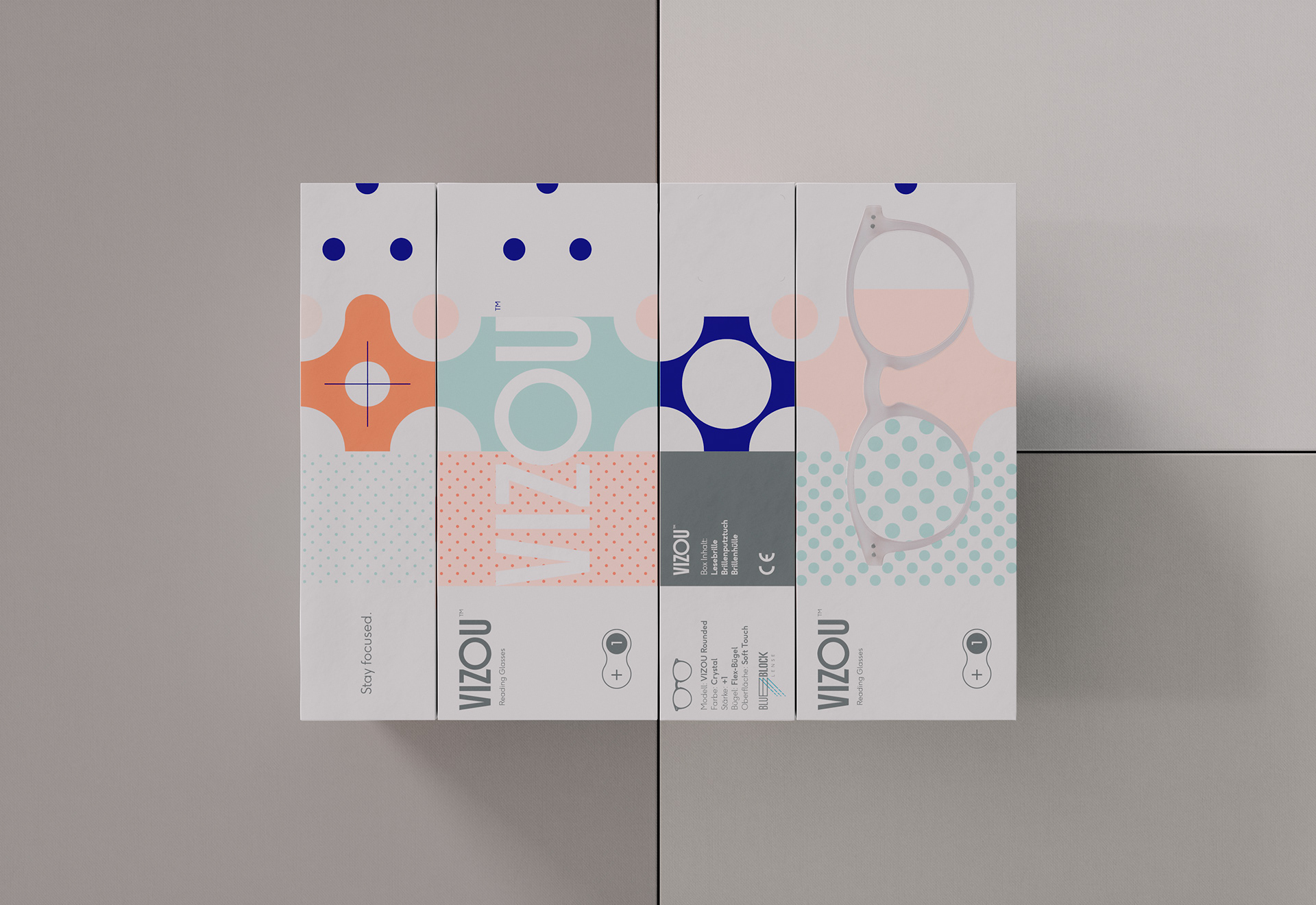 Packaging & Logo Design for Vizou's reading glasses collection