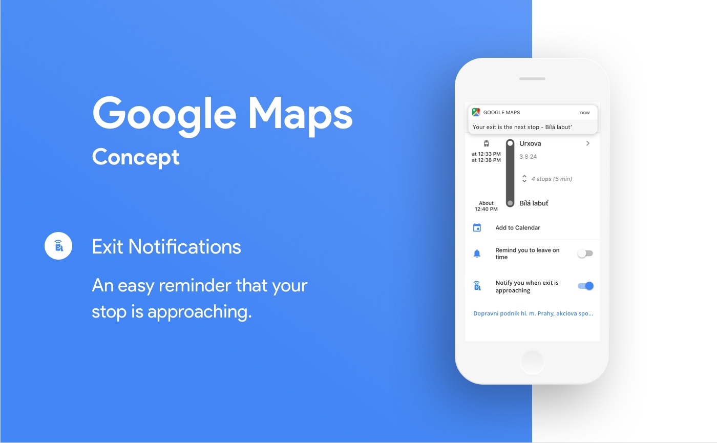 Google Maps Exit Notifications (concept) on Behance