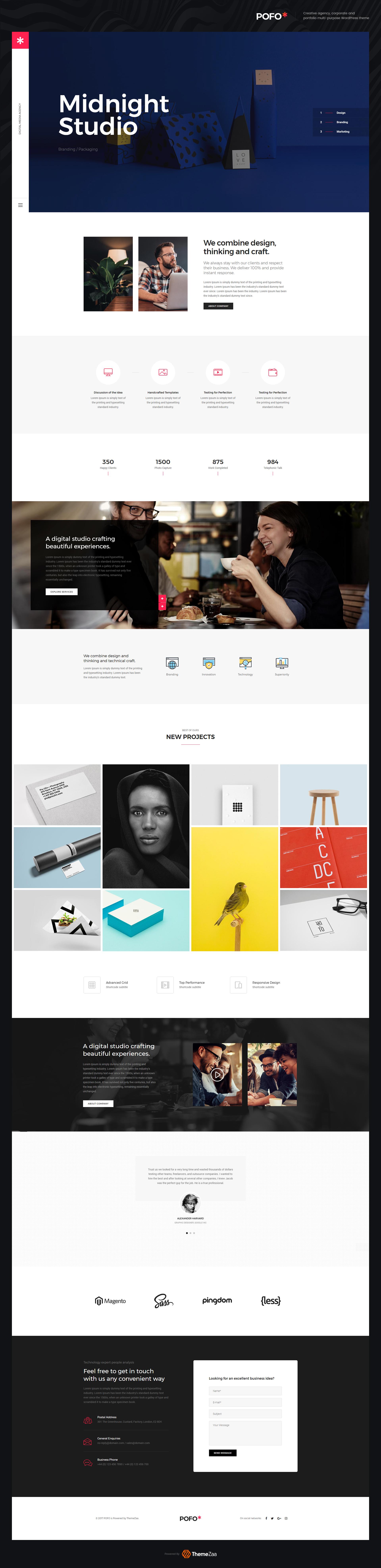 Pofo WordPress Theme - Creative Studio on Behance