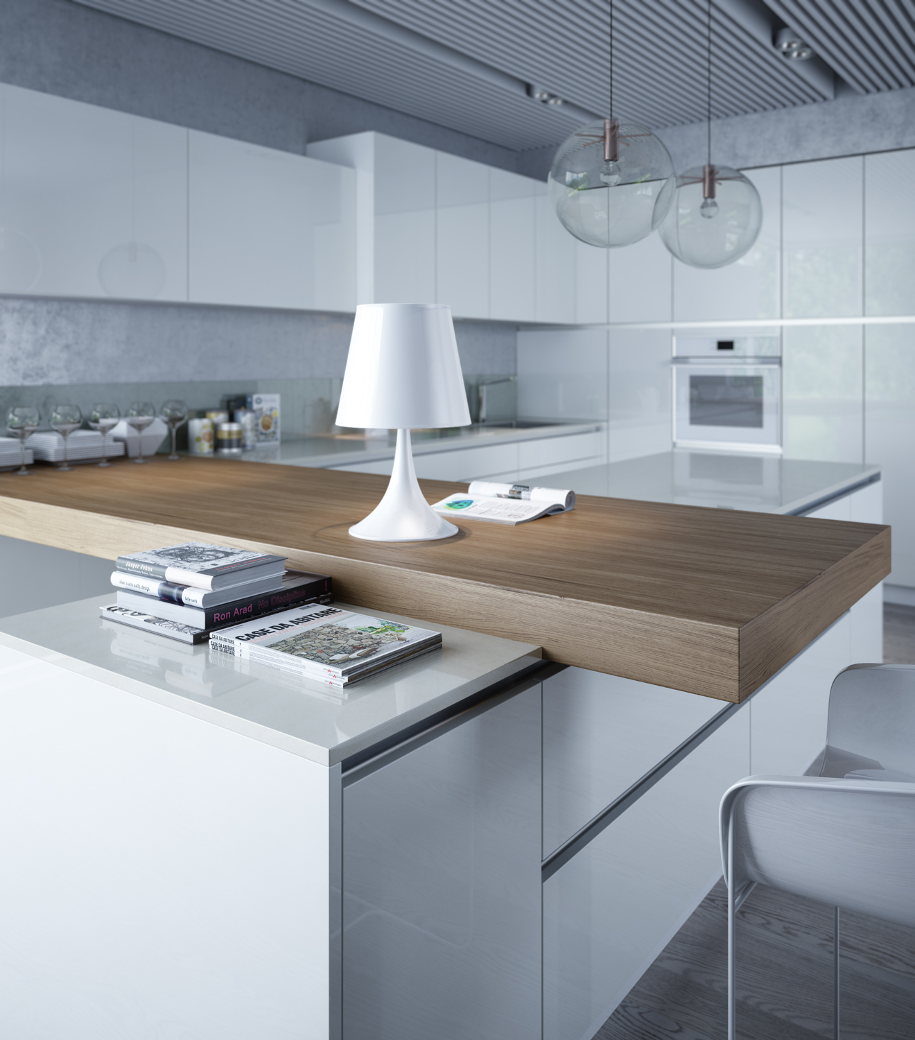 White kitchen on Behance