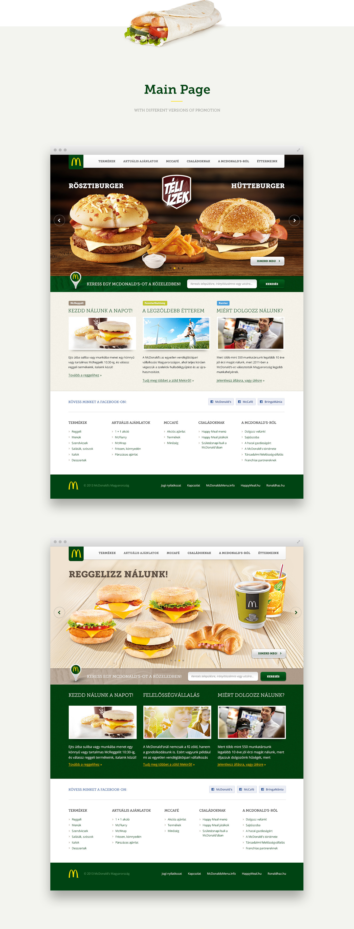 The hungarian McDonald\'s website\'s redesign on Behance