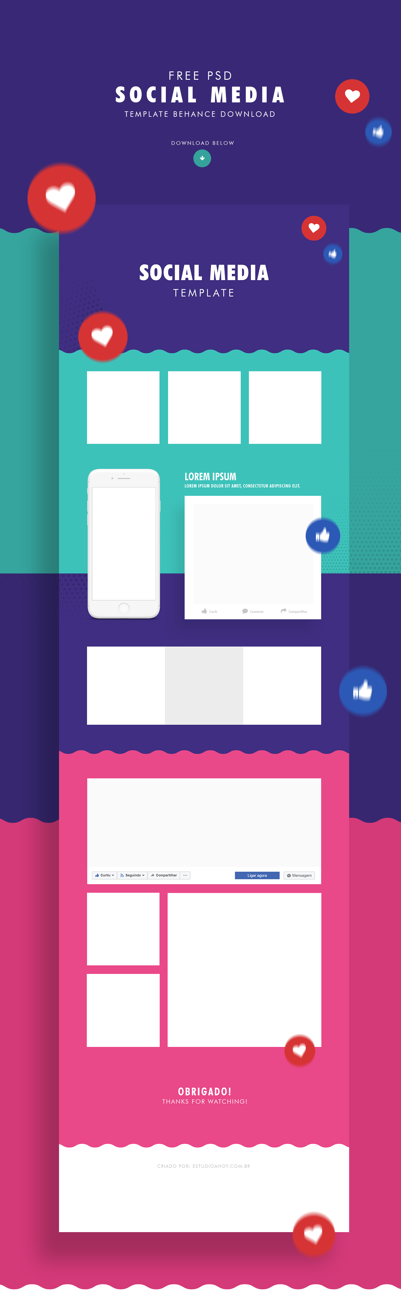 social media free template on behance