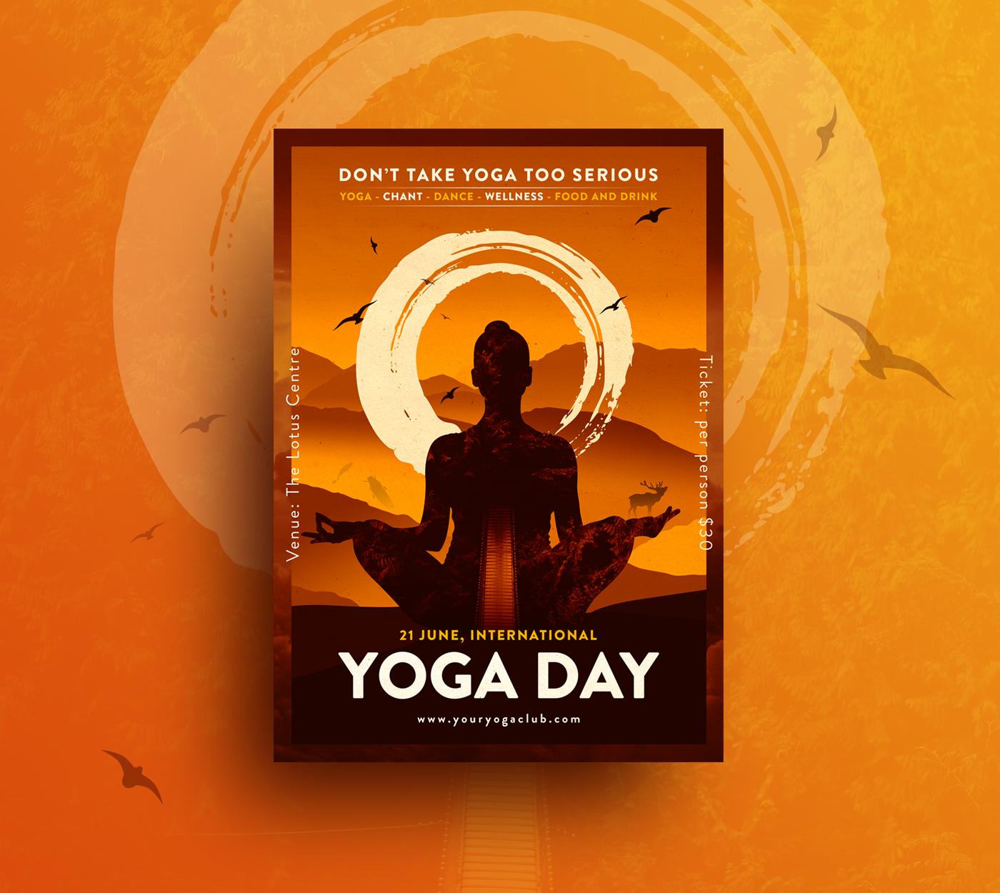 Creative World Yoga Day Poster