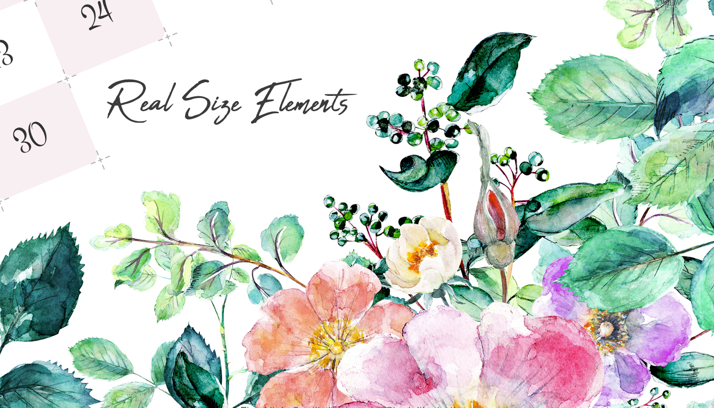 watercolor hand drawn illustration with flowers and leaves gentle wreath banners with spring 2018 calendar and calligraphy elements