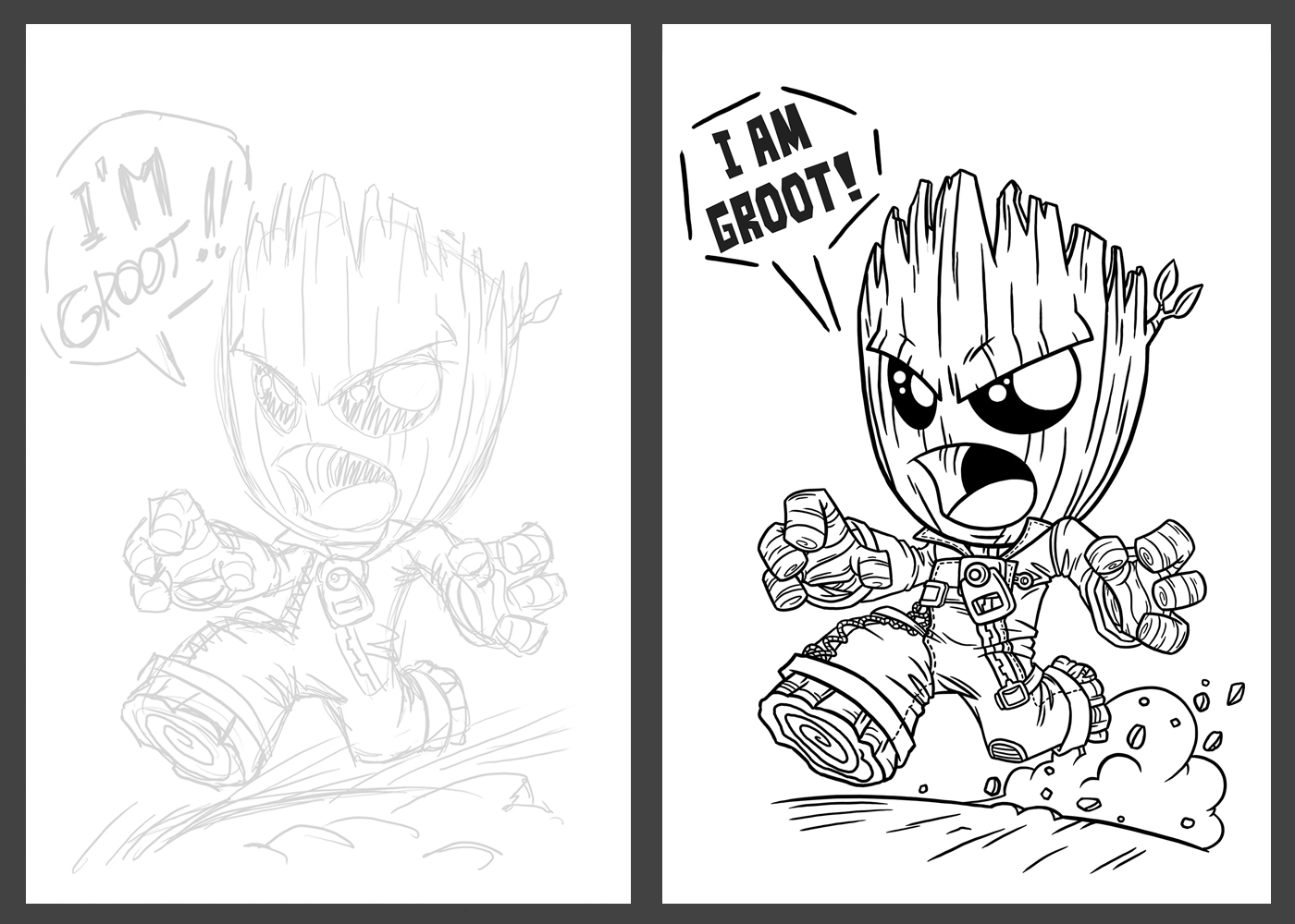 Wandtattoo Angry Baby Groot