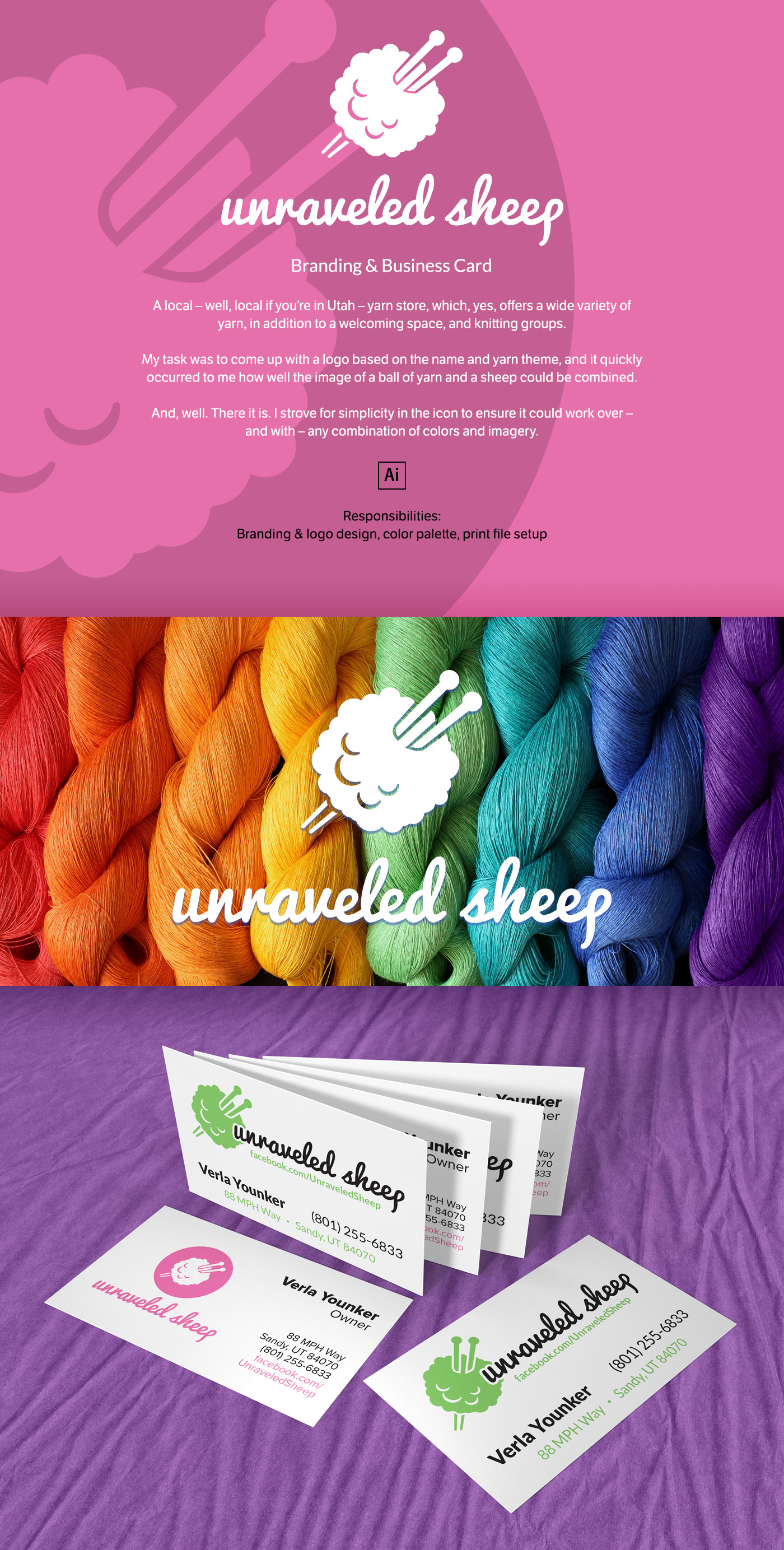 unraveled sheep branding business card on behance