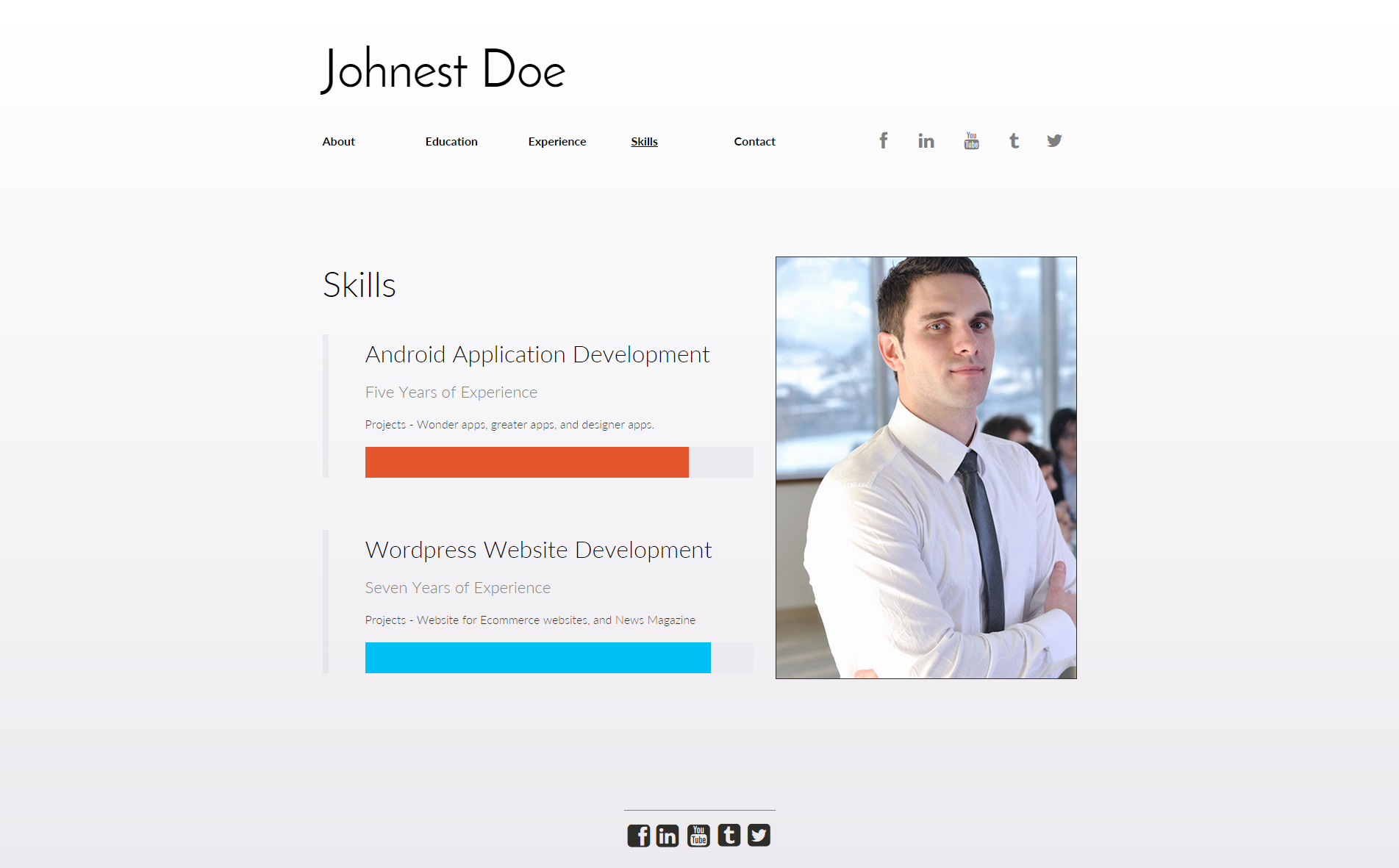 this is a simple vcard or online resume website concept - Online Resume Website