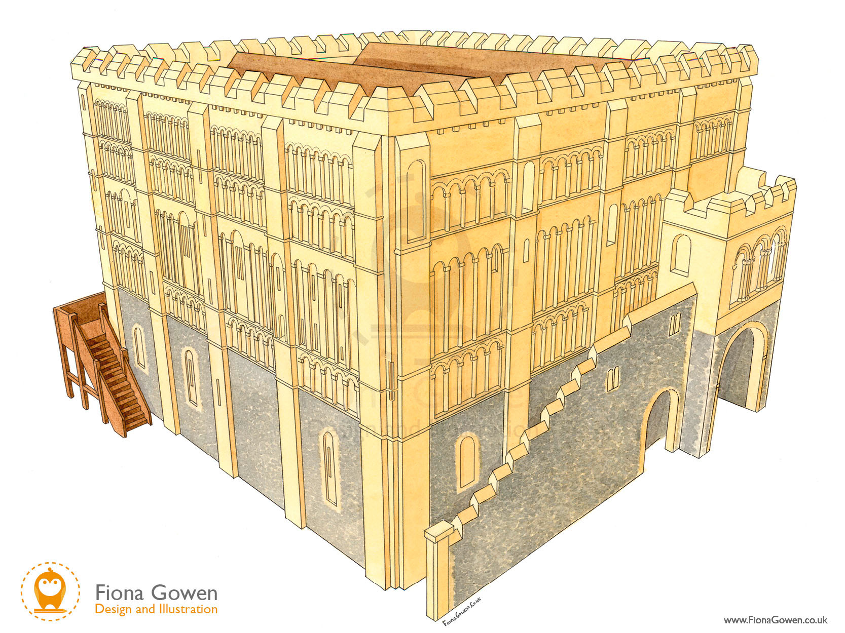 Watercolour illustration of medieval Norwich Castle with flint bottom, stairs and wooden steps by Norfolk Illustrator Fiona Gowen