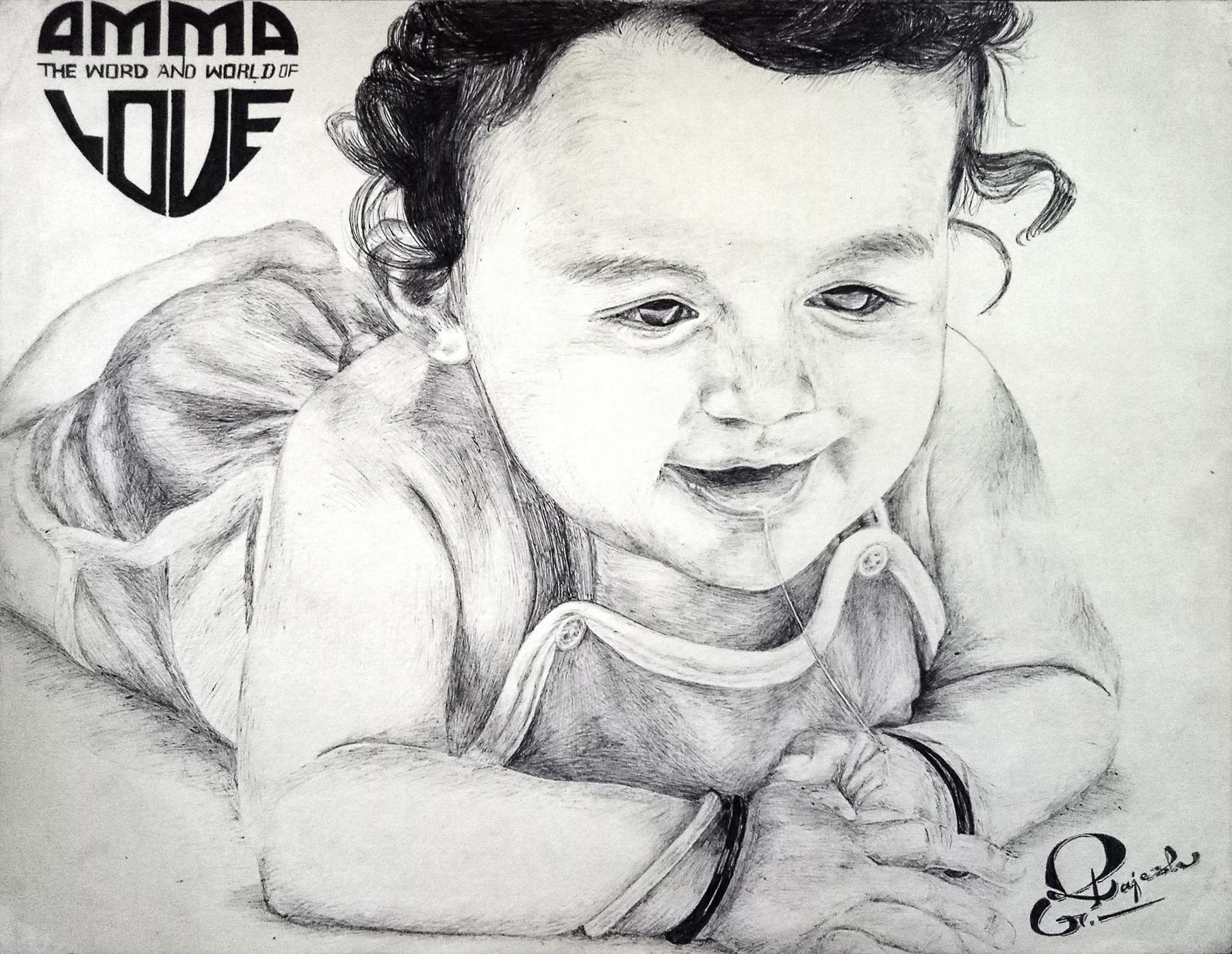 Ballpoint Pen Drawing Of A Cute Little Baby On Behance