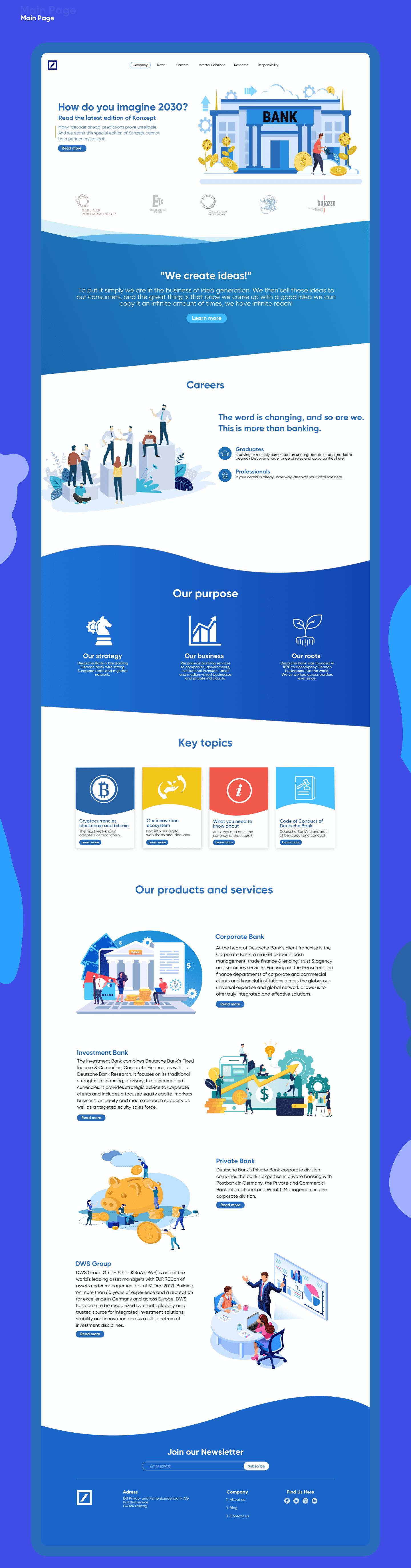 Deutsche Bank Redesign Main Page On Behance