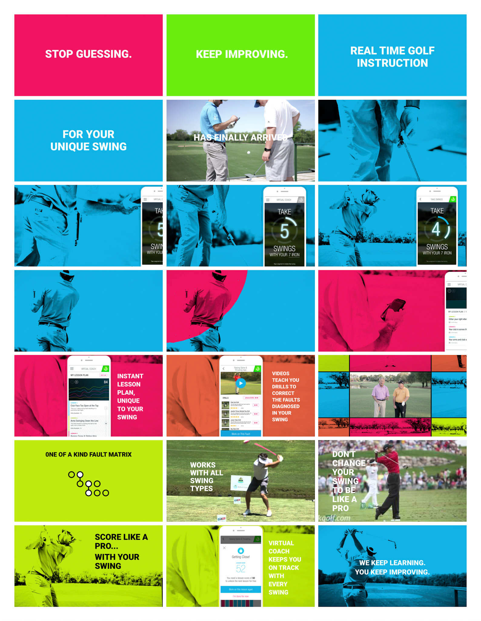 """This image shows the initial story boards created for this project. It begins with frames of bright pink, green & blue, that read """"Stop Guessing. Keep Improving. Real-time Golf Instruction, for your unique swing."""" After the initial frames, the storyboards explain the features of the golf swing analyzer's new feature - """"Virtual Coach""""."""