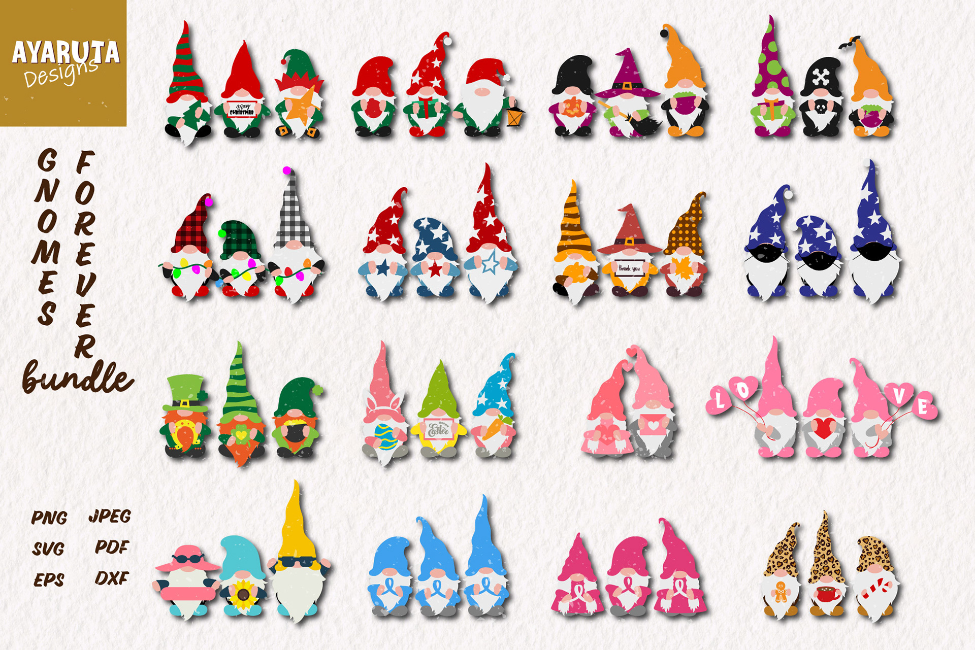 Download Holiday Gnomes Bundle Christmas Valentine Easter On Behance