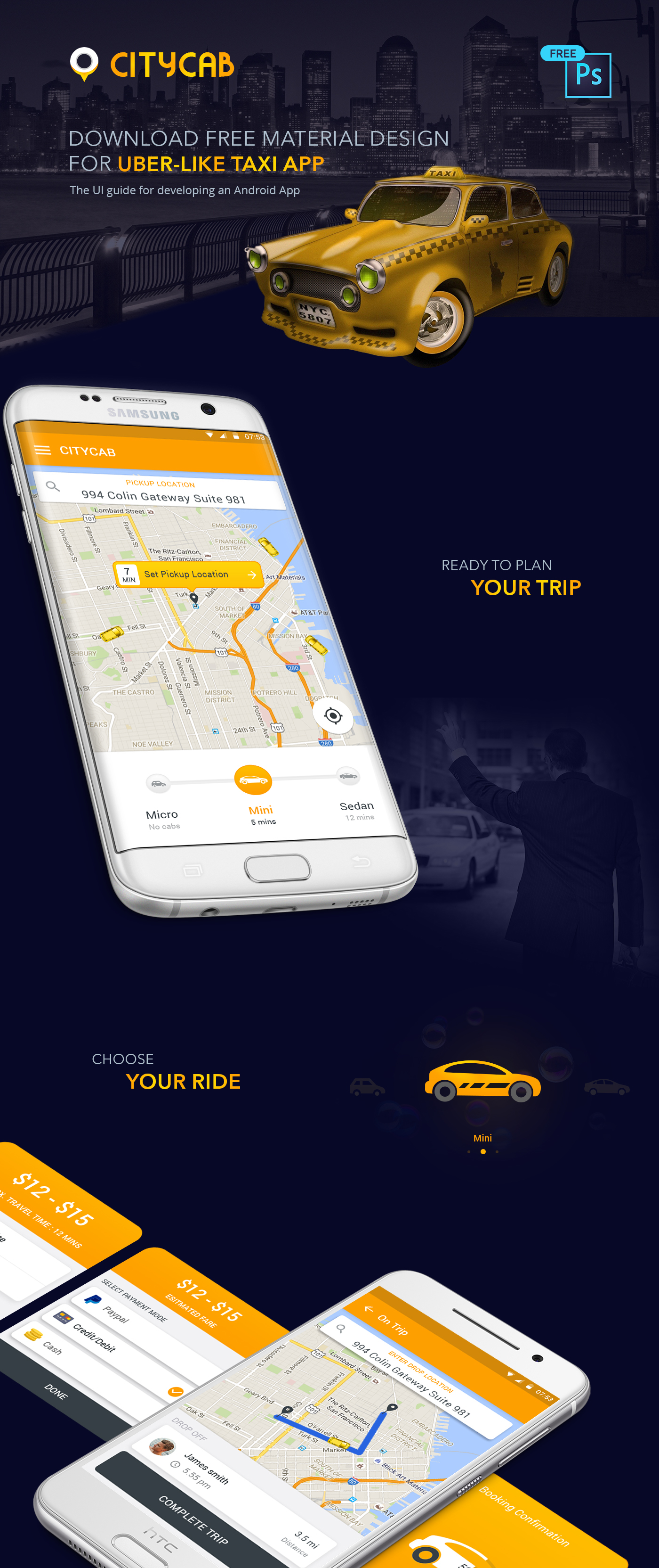 Taxi App Design Template For Android Free - Somurich com