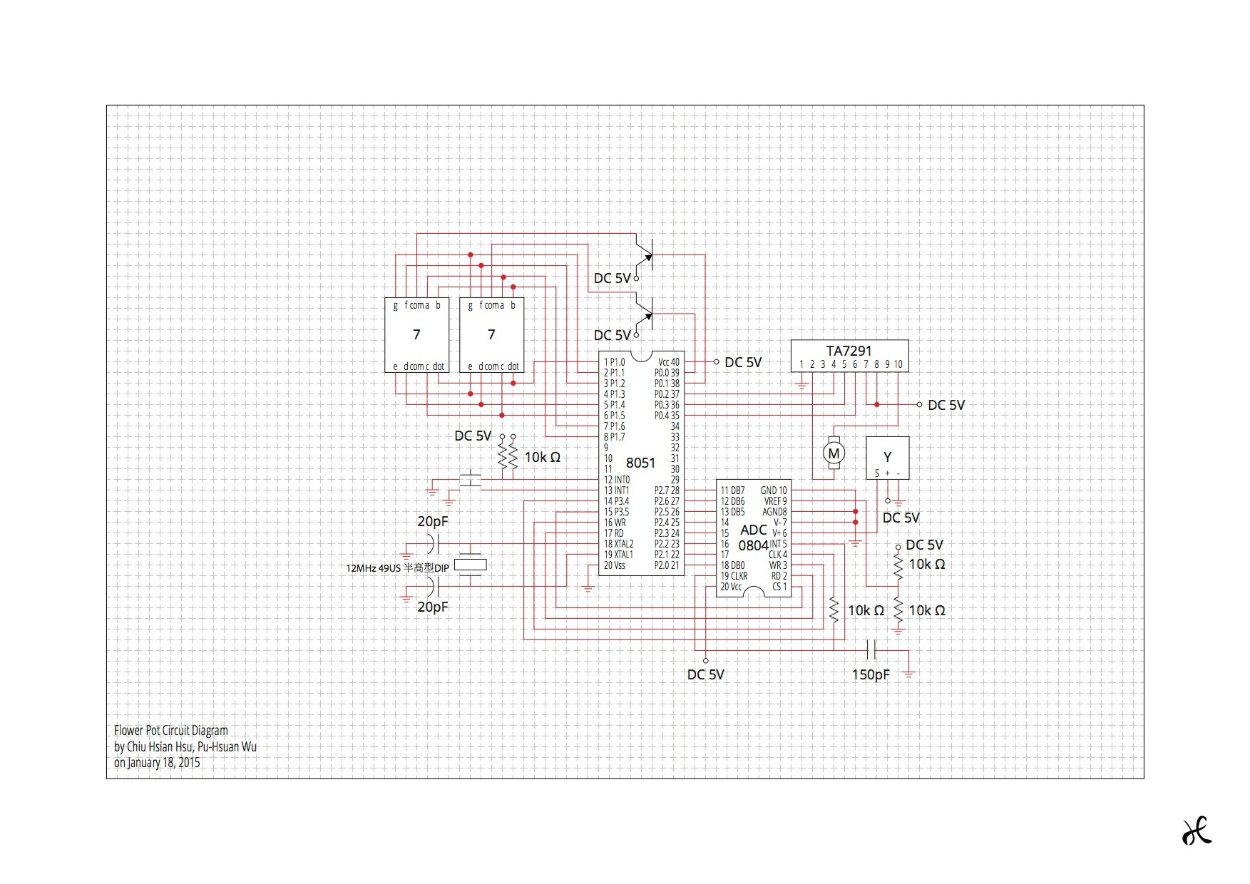 pu hsuan wu smart flower pot LED Floodlight Wiring-Diagram figure 4 the circuit diagram for smart flower pot the labels are abbreviated y is moisture sensor and 7 is 7 segment led