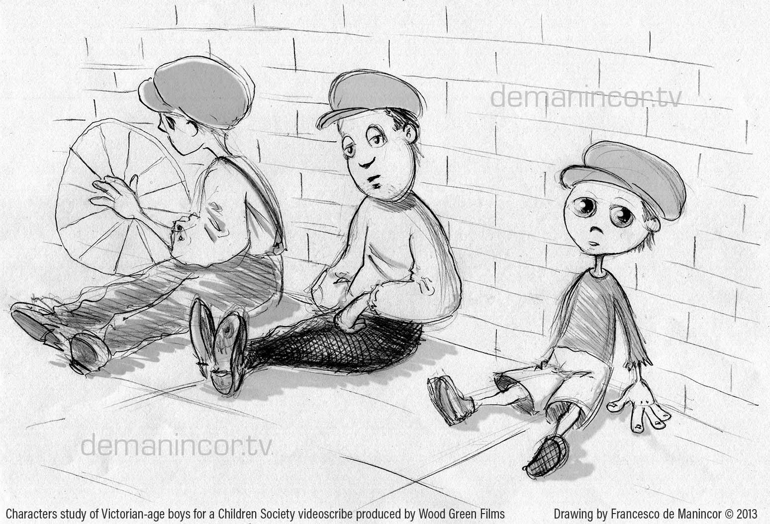 Characters study of Victorian-age boys for a Children Society project
