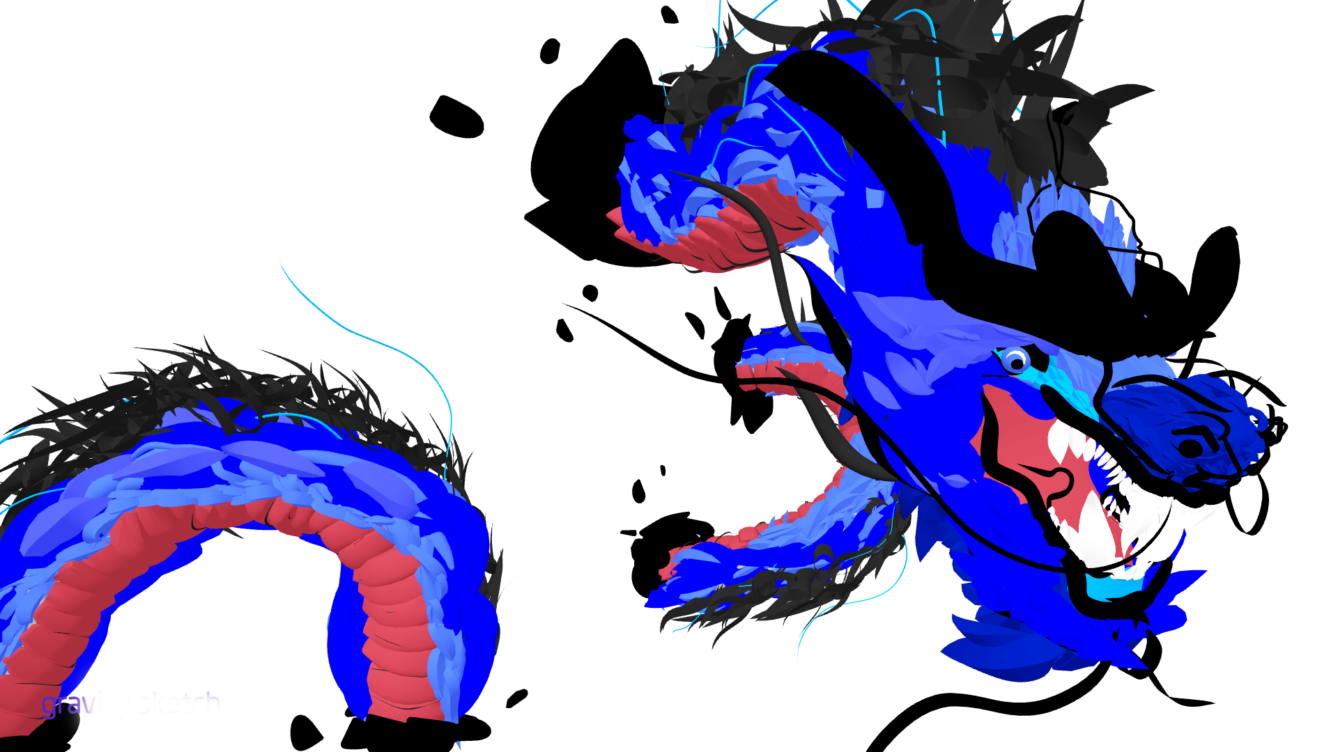 Vr Sculpting Blue Dragon On Behance