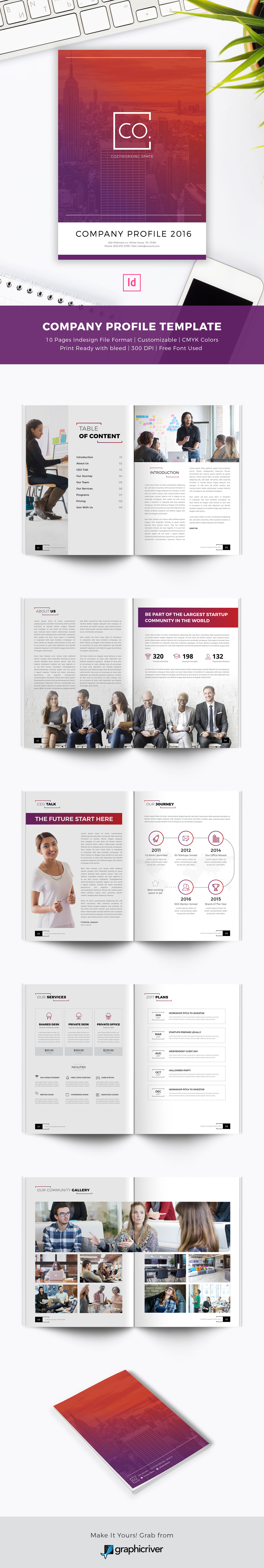 CoWork Company Profile Indesign Template on Behance