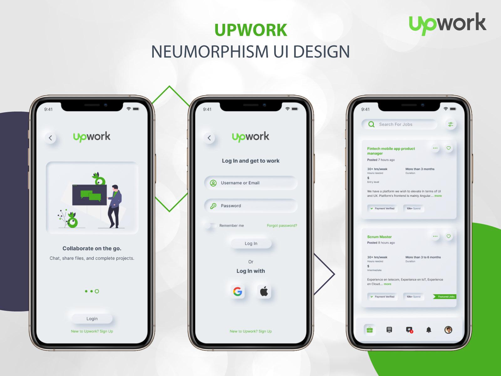 Upwork App neumorphism Concept   Behance