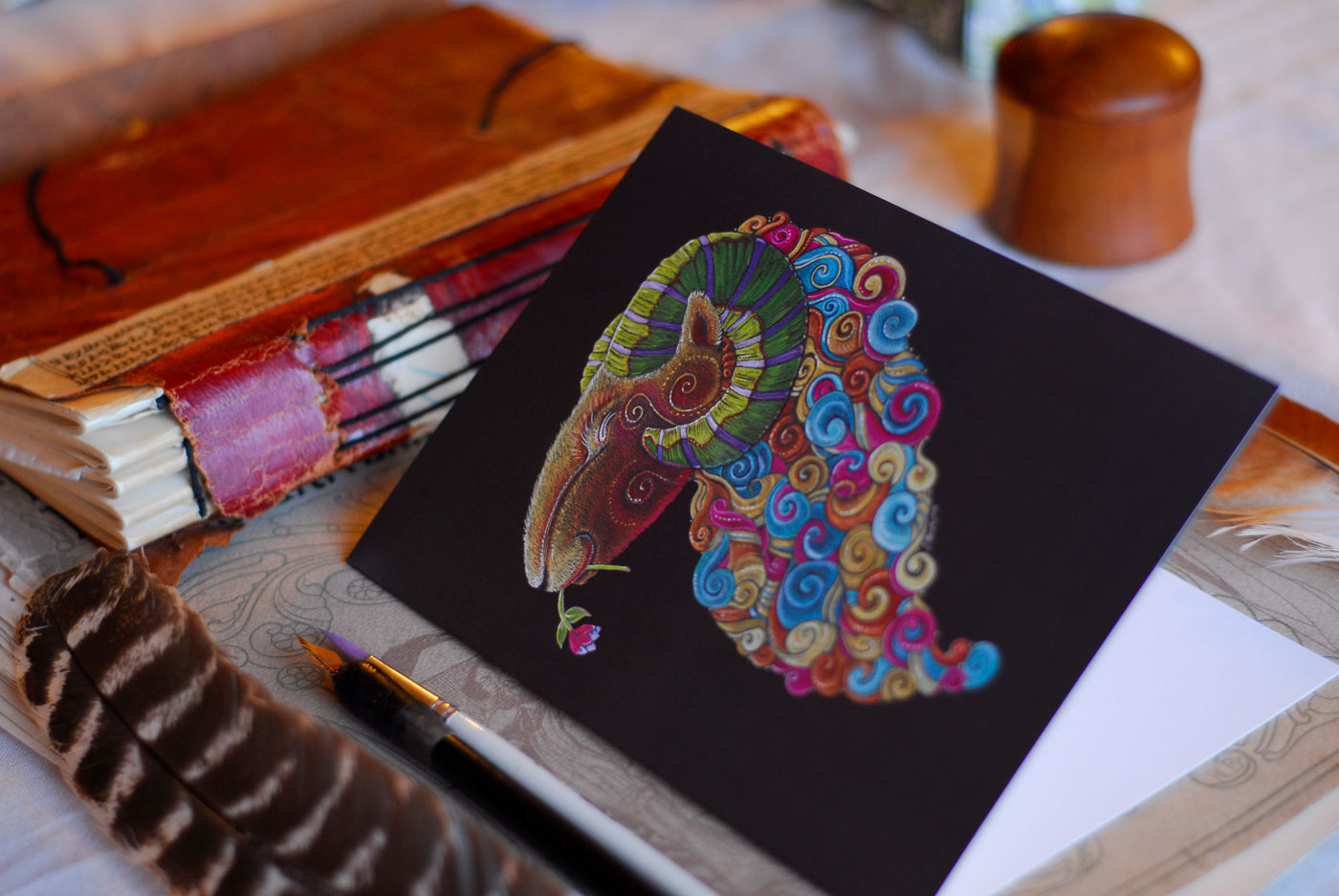 Greeting cards of Ram Totem available from my Etsy Store
