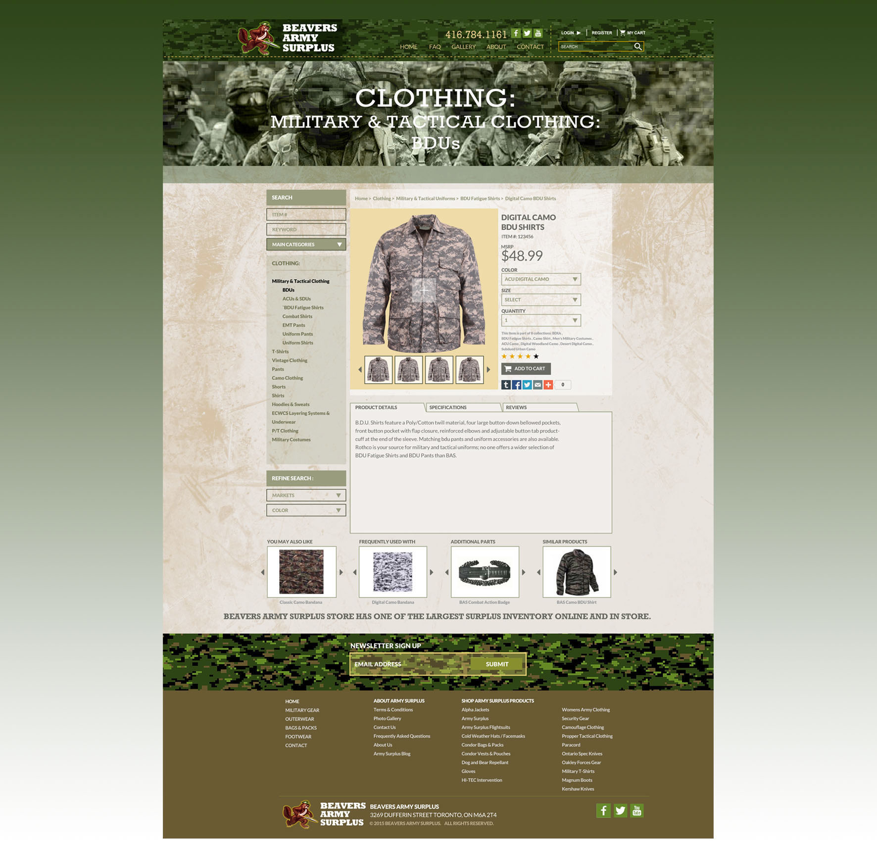 Beaver Army Surplus Website Design on Behance