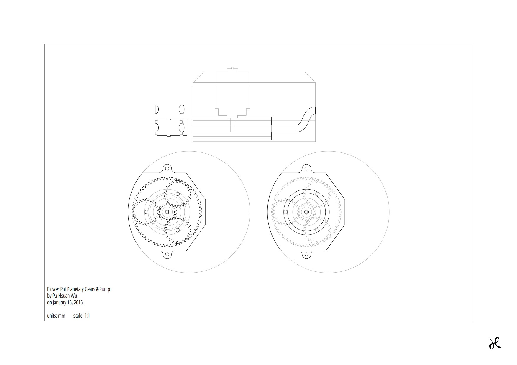 Pu hsuan wu smart flower pot figure 6 sketch of planetary gears driven water pump ccuart Image collections