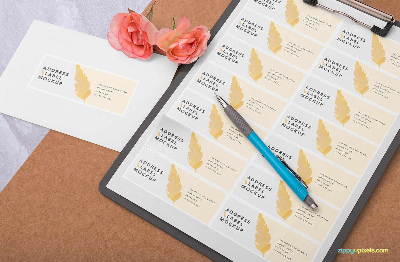 free wedding address label mockup on behance