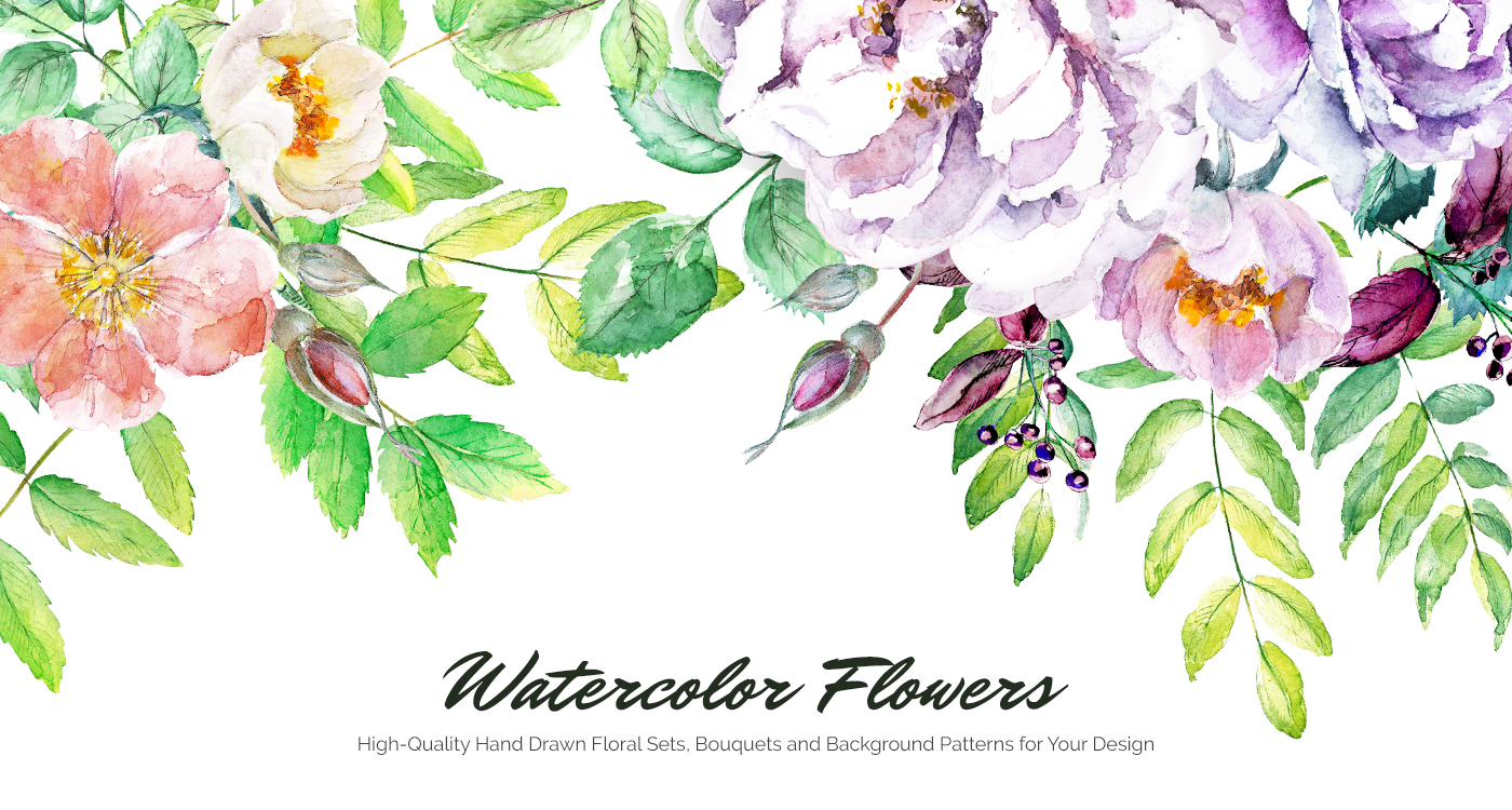 Watercolor Flowers Hand Drawn Elements For Design On Behance