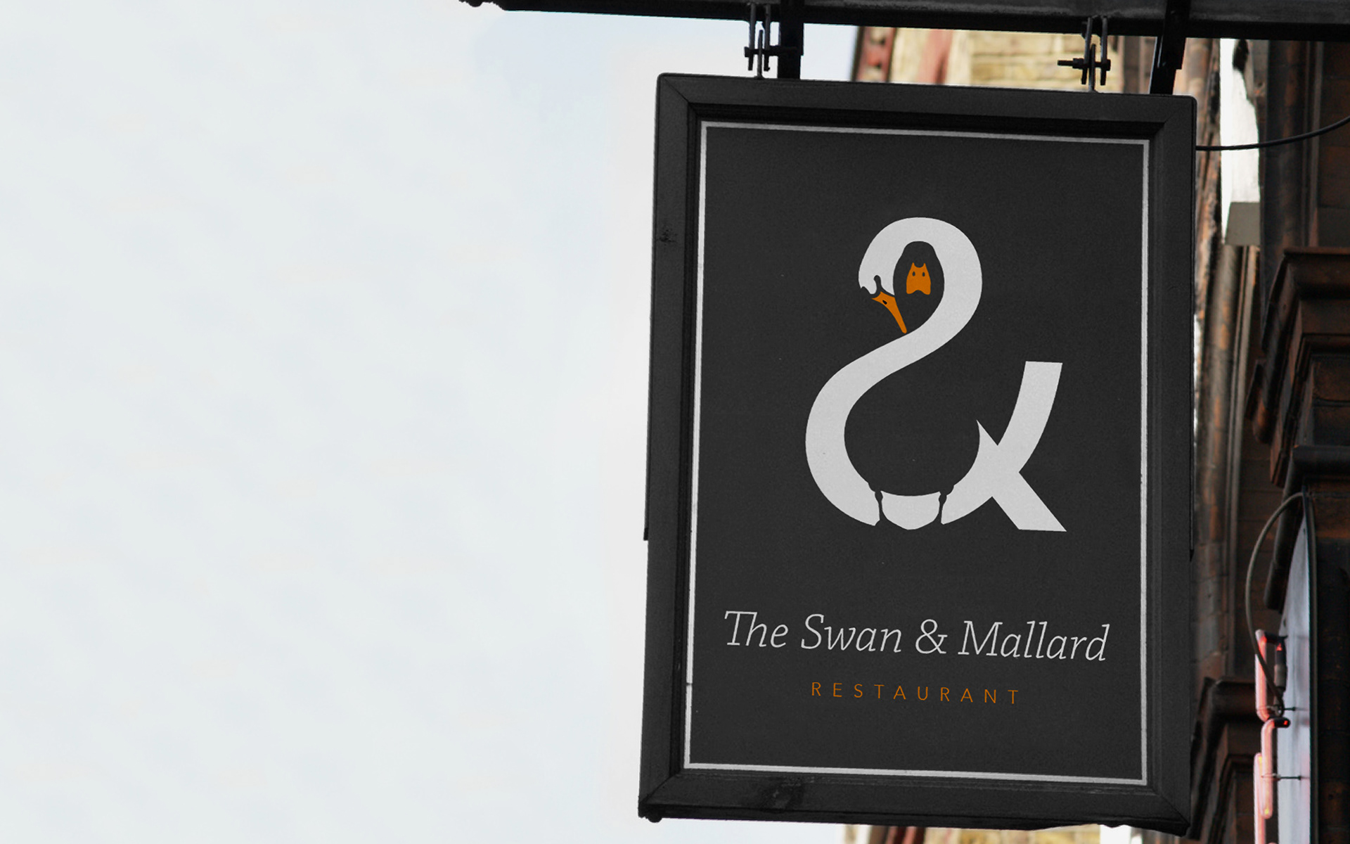 Graphic Designer content creators restaurant black and white logo swan and mallard duck