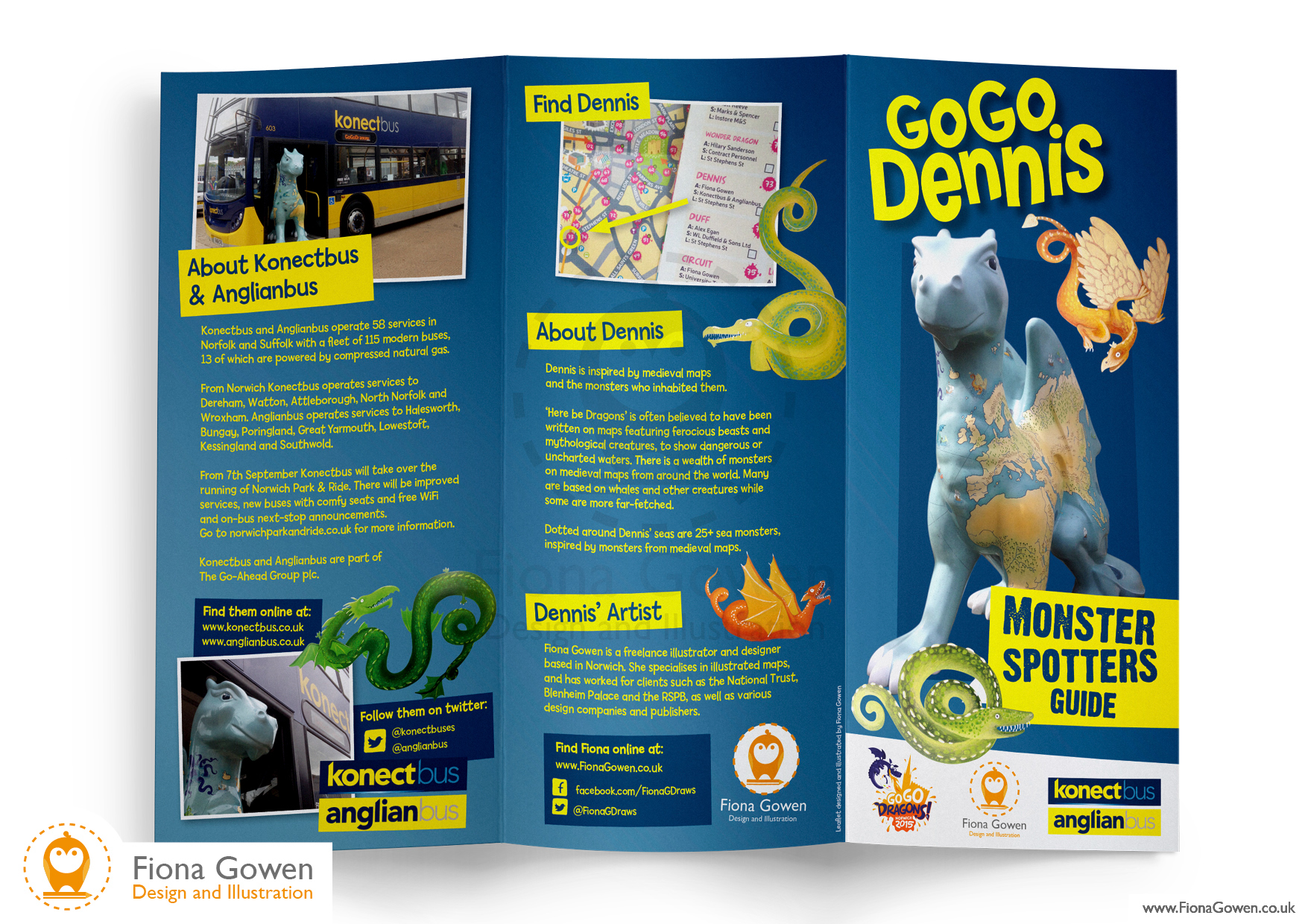 leaflet design for 2015 Illustrated map dragon sculpture by Fiona Gowen