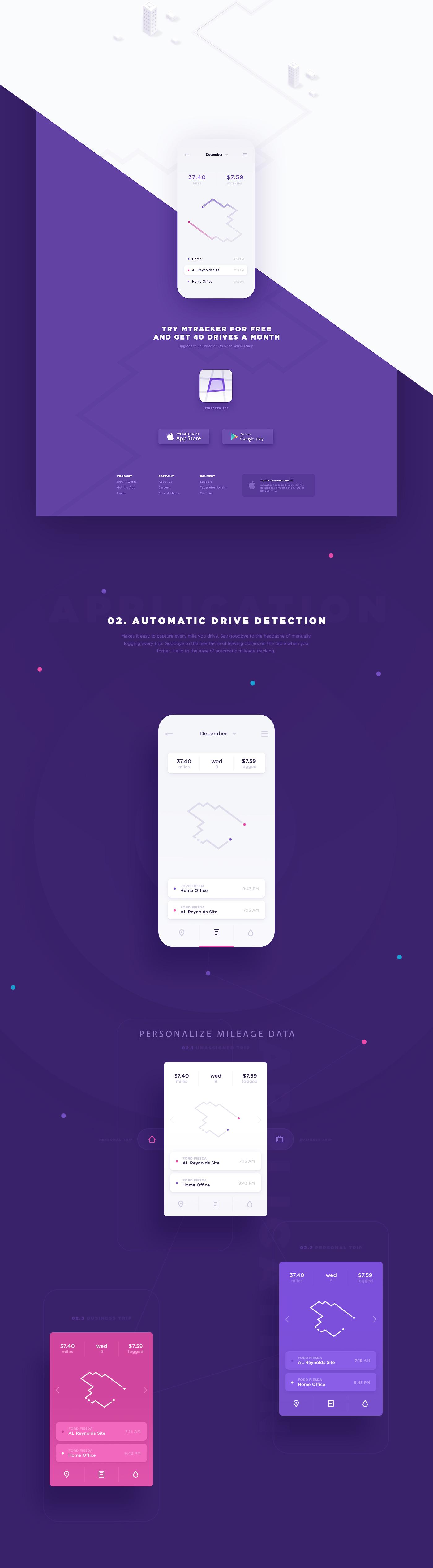 mileage tracker website application design on behance
