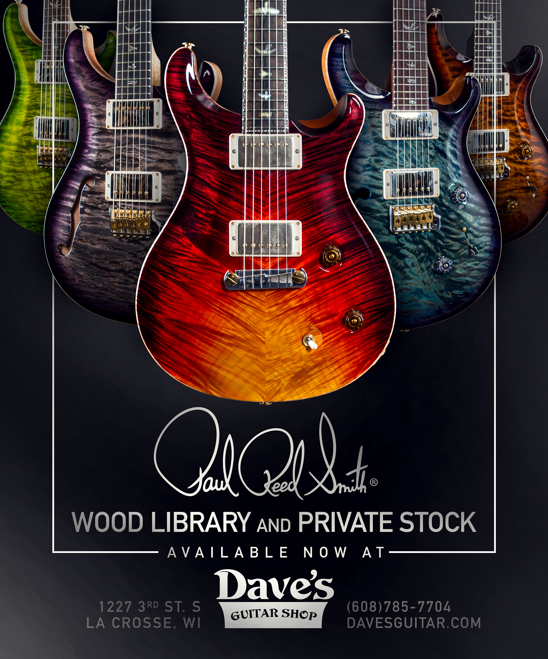 Paul Reed Smith Wood Library Ads - Dave's Guitar Shop on Behance
