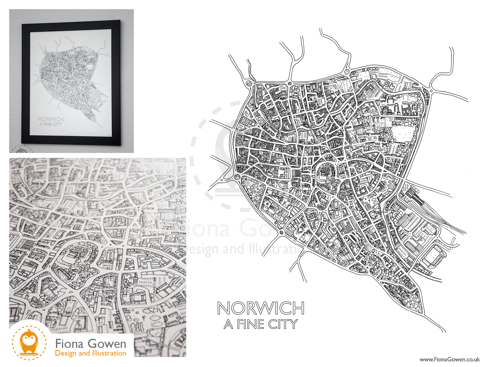 Illustrated map of Norwich, Norfolk by Norfolk map illustrator Fiona Gowen