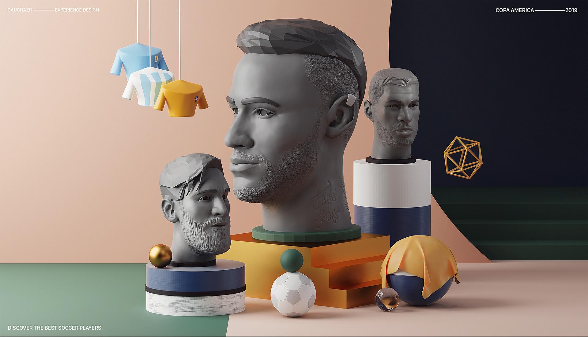 3D iliustrace hlav a doplňující grafiky.
