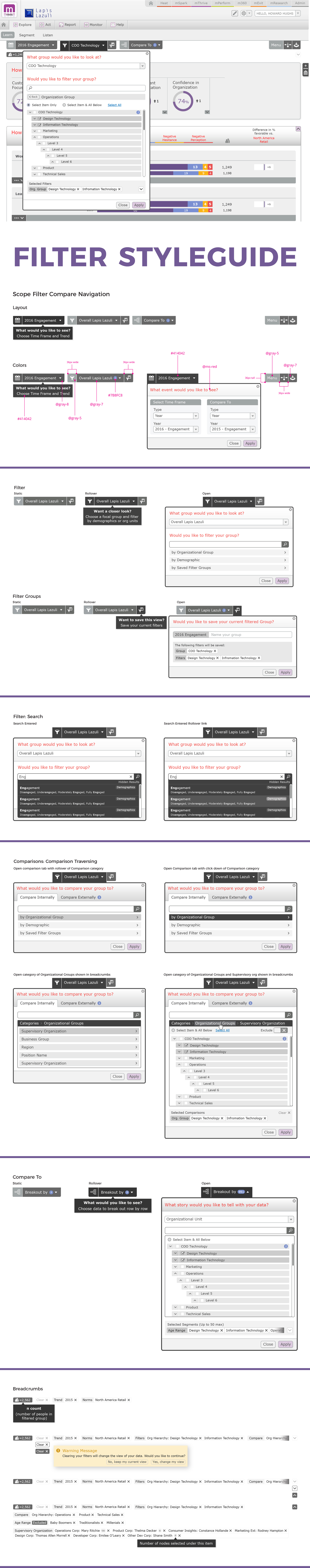 Analytic Dashboard Filter UX/UI Design Stylequide