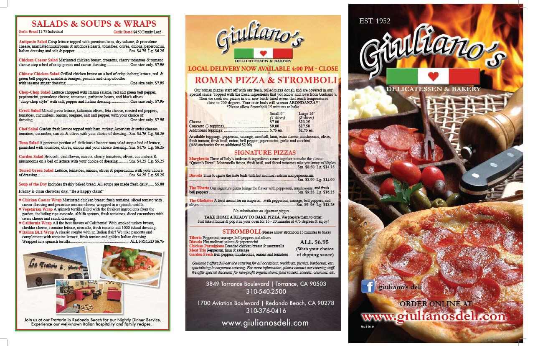 rose anderson giuliano s 3 fold menu 2 sided