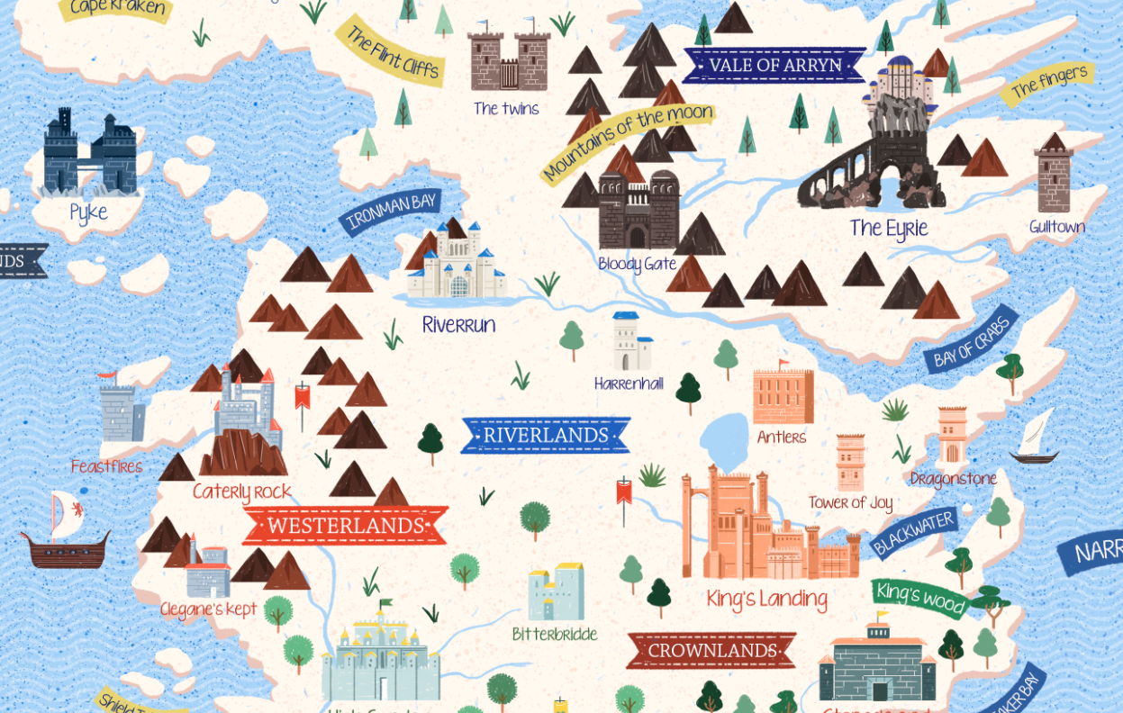 Game of Thrones sigils and illustrated map on Behance Game Of Thrones Map With Houses on game of thrones westeros map, board game of thrones map, game of thrones relationship map,