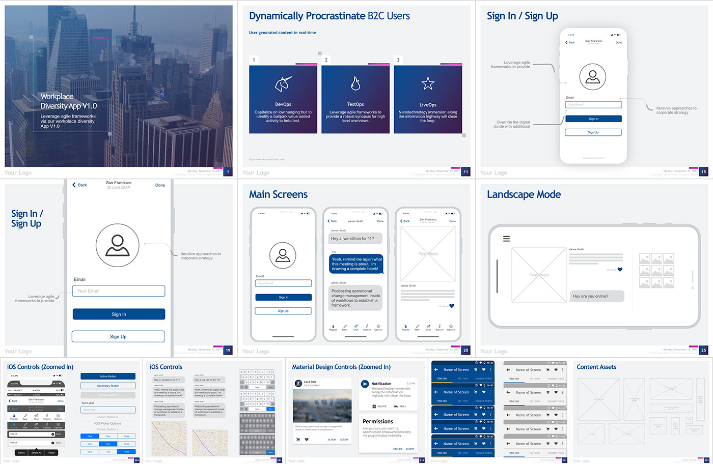 kit was designed to help you quickly create a wireframe of your app that you can share with investors and developers using only keynote or powerpoint