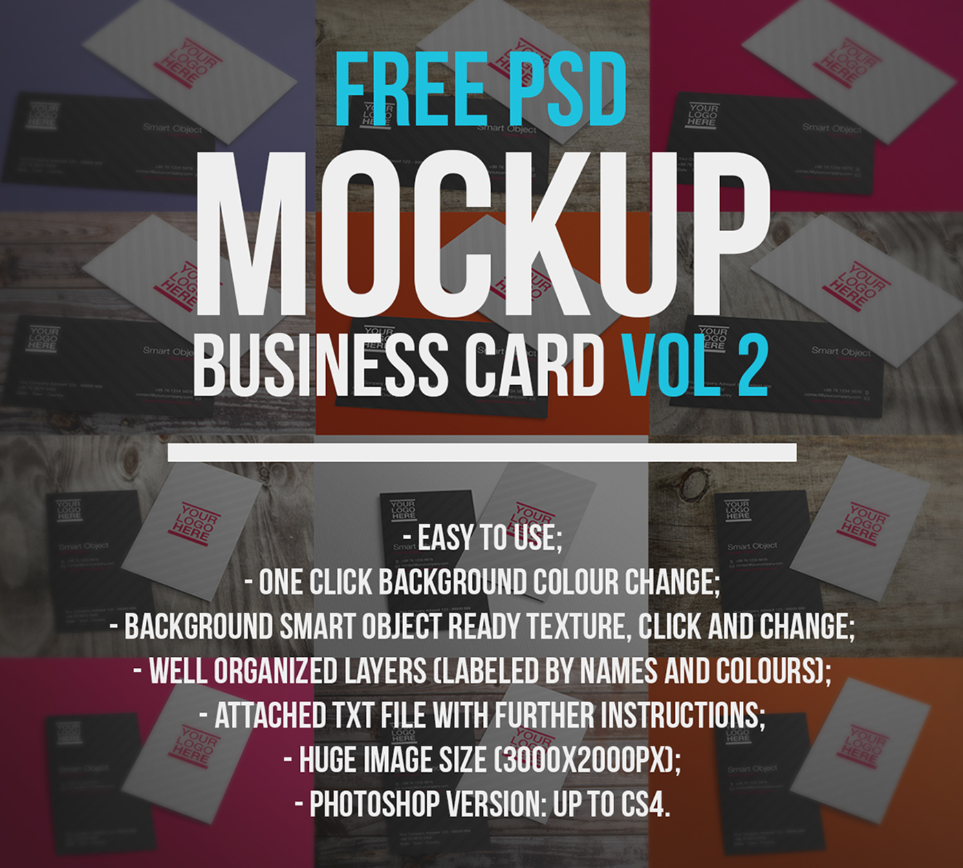 Free psd mockup business card vol 2 on behance reheart Gallery