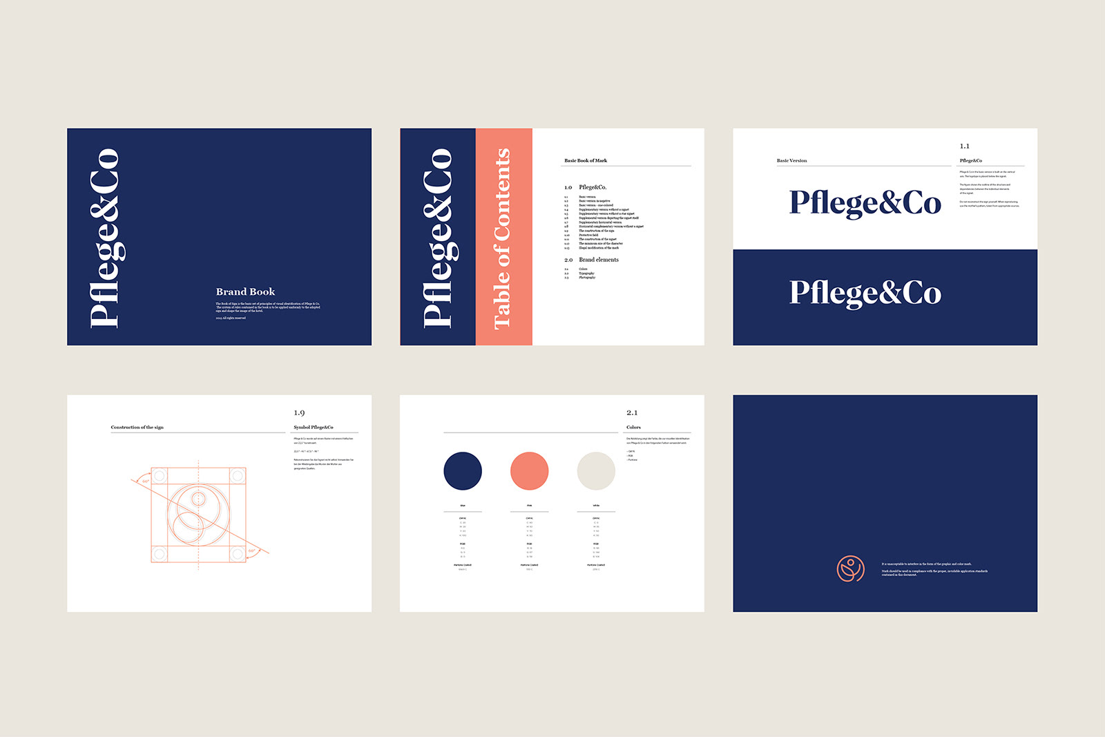 A classic & modern brand identity for Pflege&Co