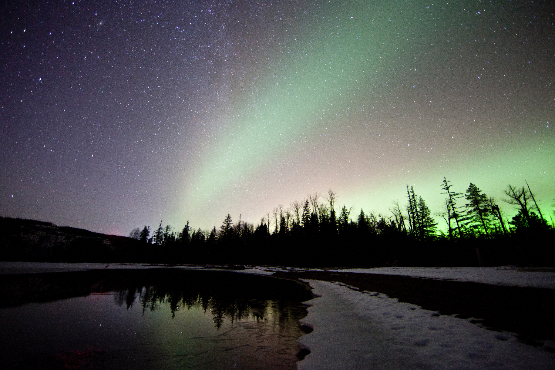 The aurora borealis over Gruchy's Beach, Terrace, BC.