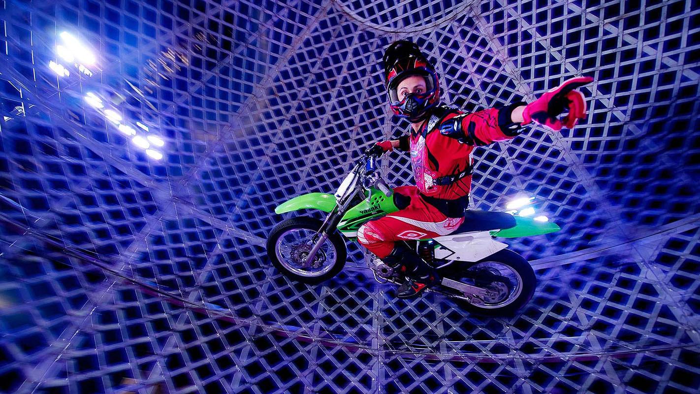 Globe of Death rider, Alfredo da Silva from Michael Edgley's Great Moscow Circus