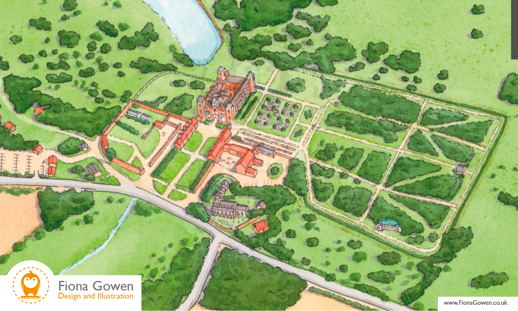 National Trust Blickling hall, Illustrated visitor map by Fiona Gowen. Cropped in to show the Hall and Gardens