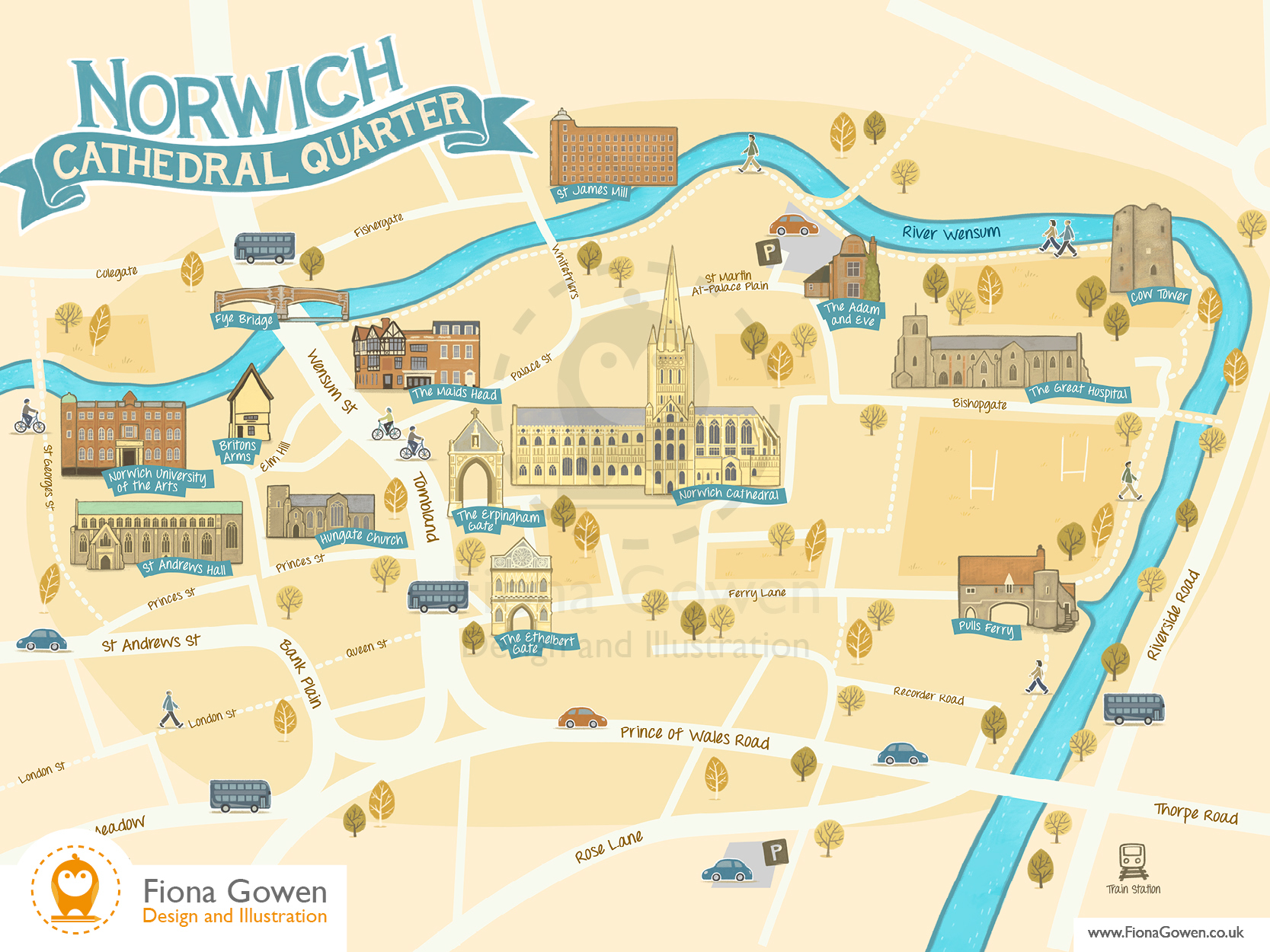 Illustrated map of Norwich Cathedral Quarter Norfolk, showing key buildings such as norwich Cathedral, St Andrews Hall, Pulls Ferry and the Adam and Eve Pub by map illustrator Fiona Gowen