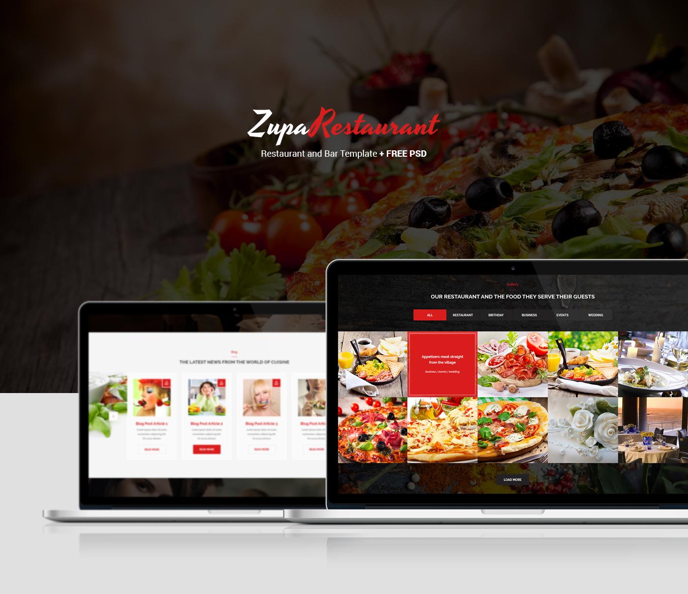 zuparestaurant psd template free psd on behance