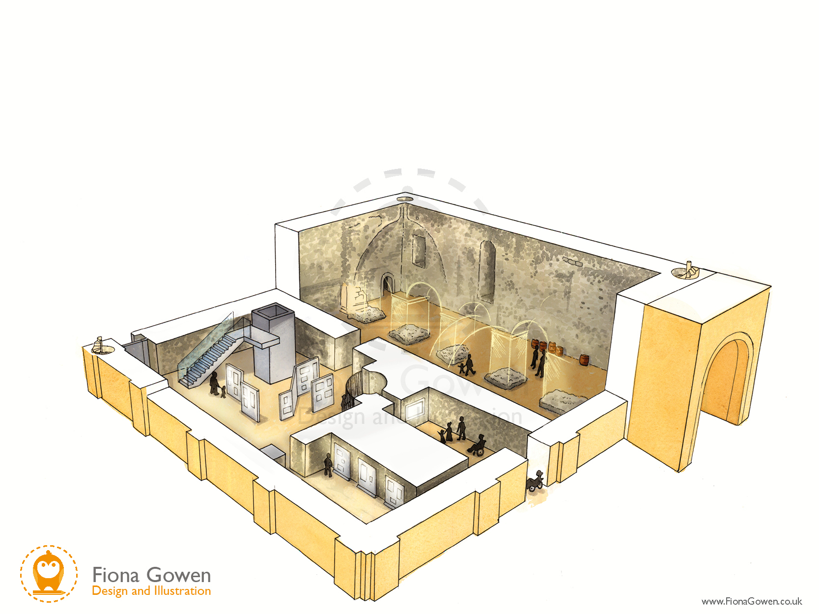 An artists impression cut though illustration of the Ground floor of the proposed Norwich Castle Keep redevelopment project. Shows visitors looking at reconstructed arches and display panels.