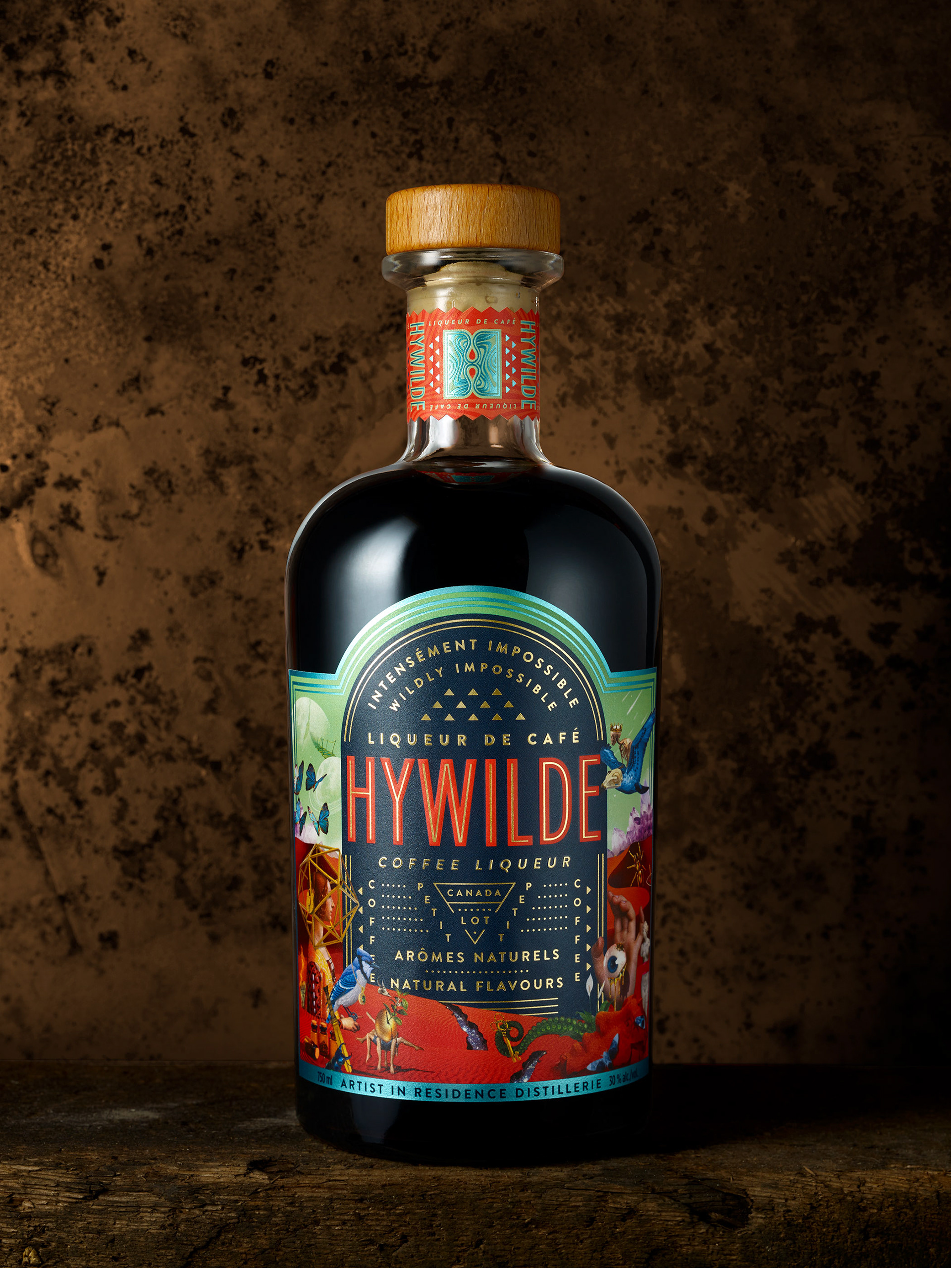 Colorful Package Design for coffee liqueur Hywilde