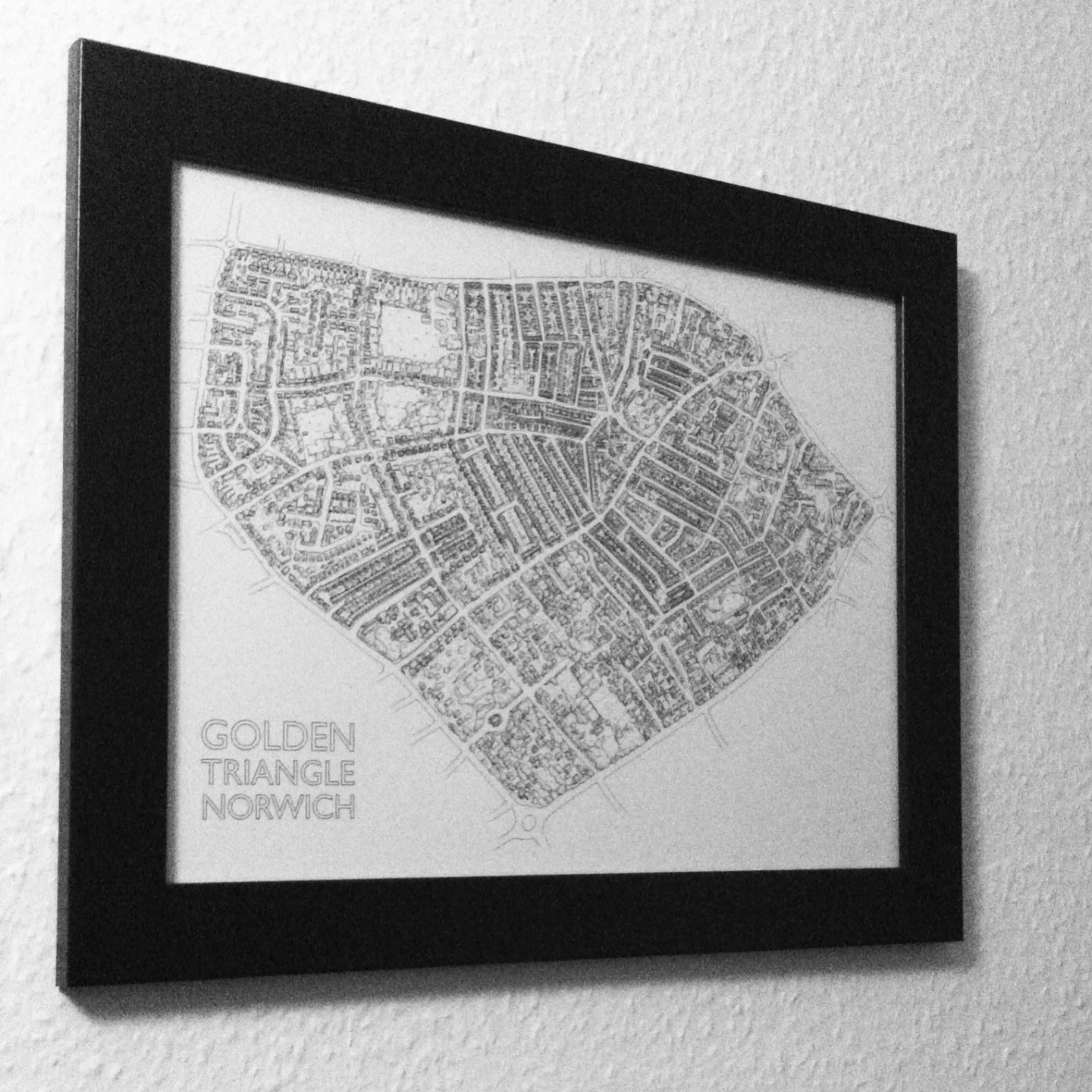 Illustrated Street map of the Golden Triangle area of Norwich Norfolk, by map illustrator Fiona Gowen