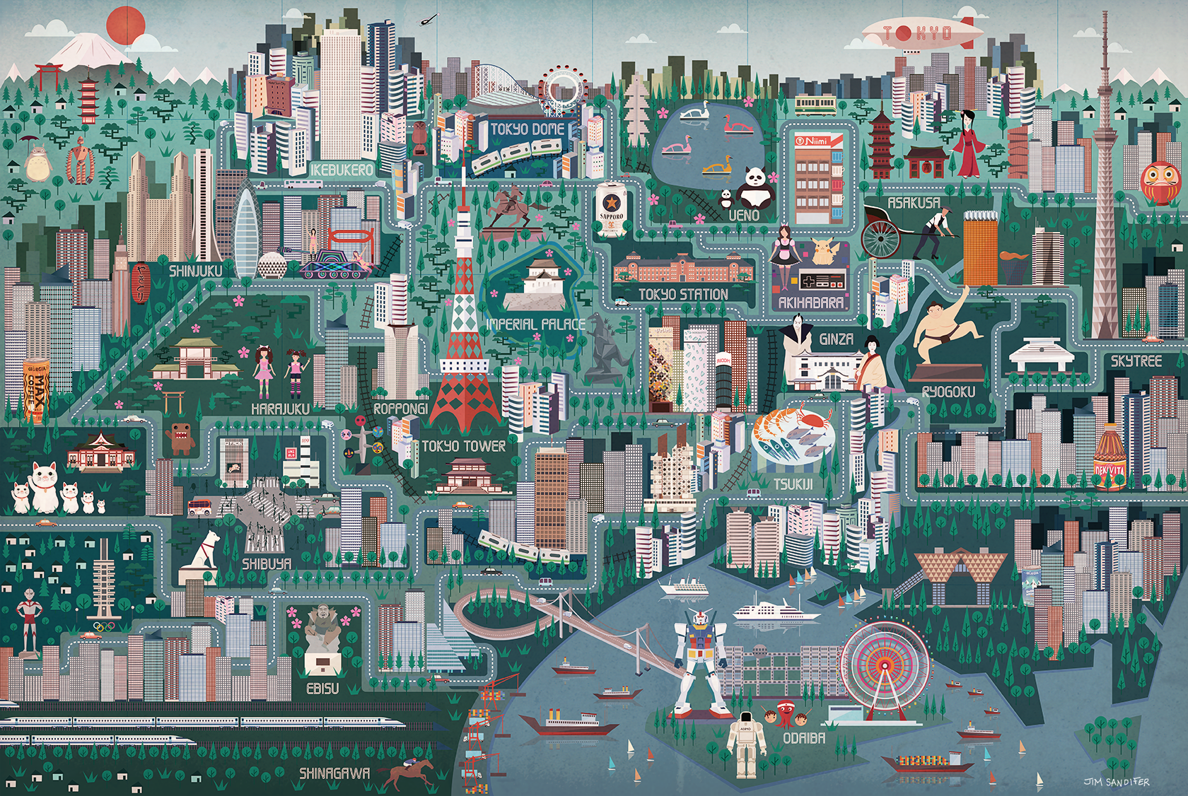 James Sandifer Illustration Animation Illustrated Map of Tokyo