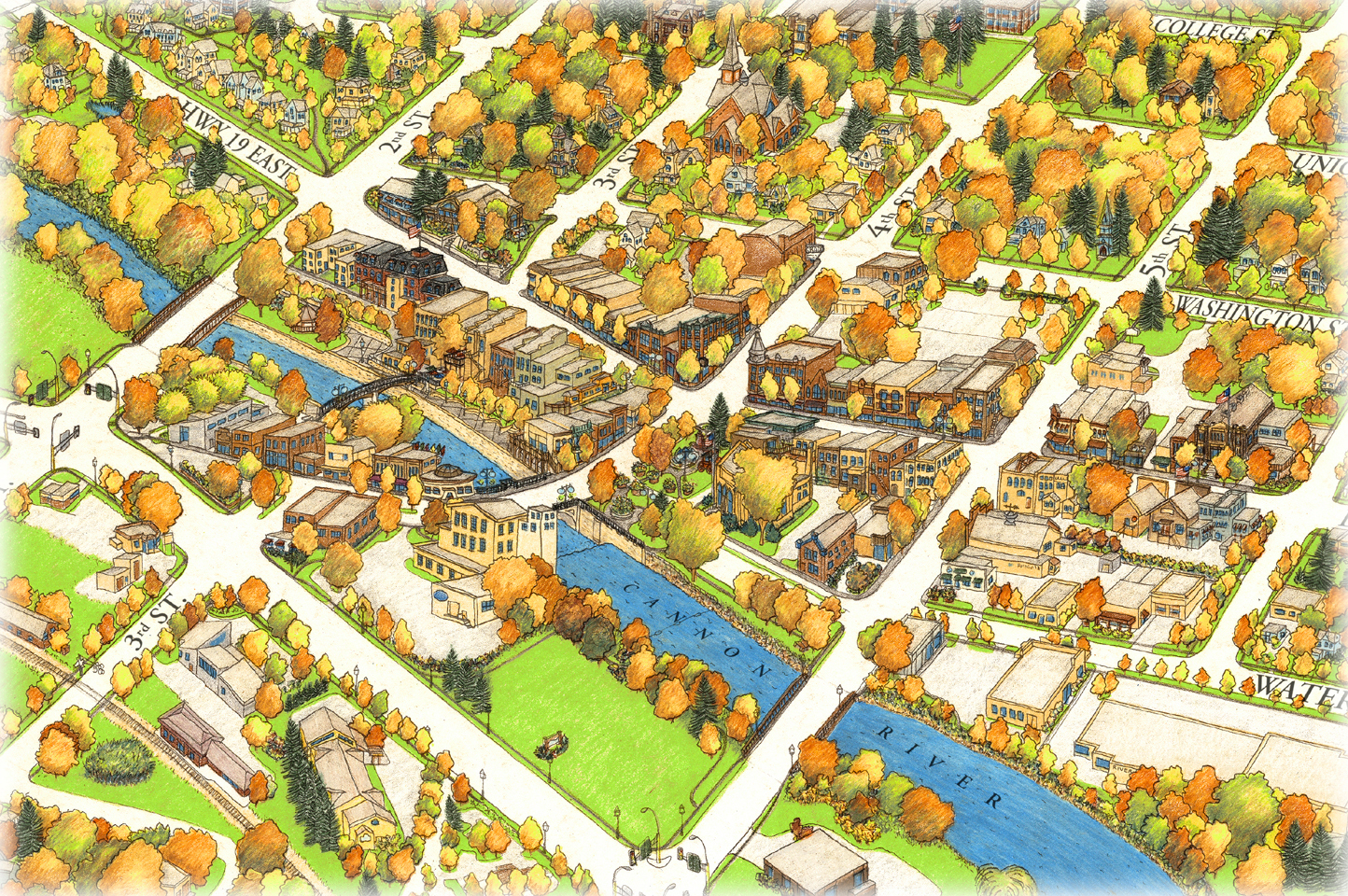 Jim Bohnhoff Design Birds Eye Map Of Northfield Minnesota
